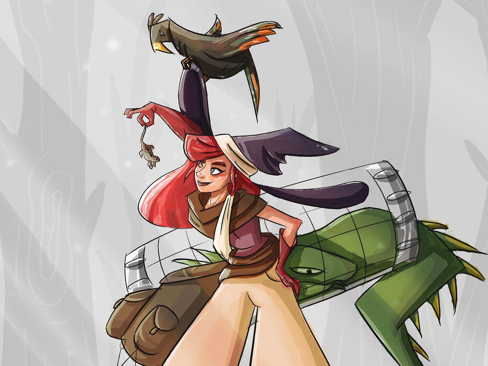 A red-haired woman in a purple hat with a bird on top holding a frog
