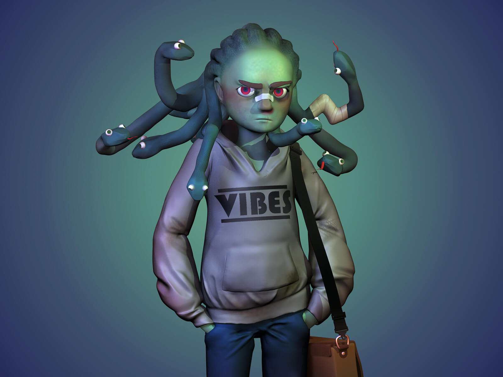 A character with snakes for hair wearing a sweatshirt and jeans