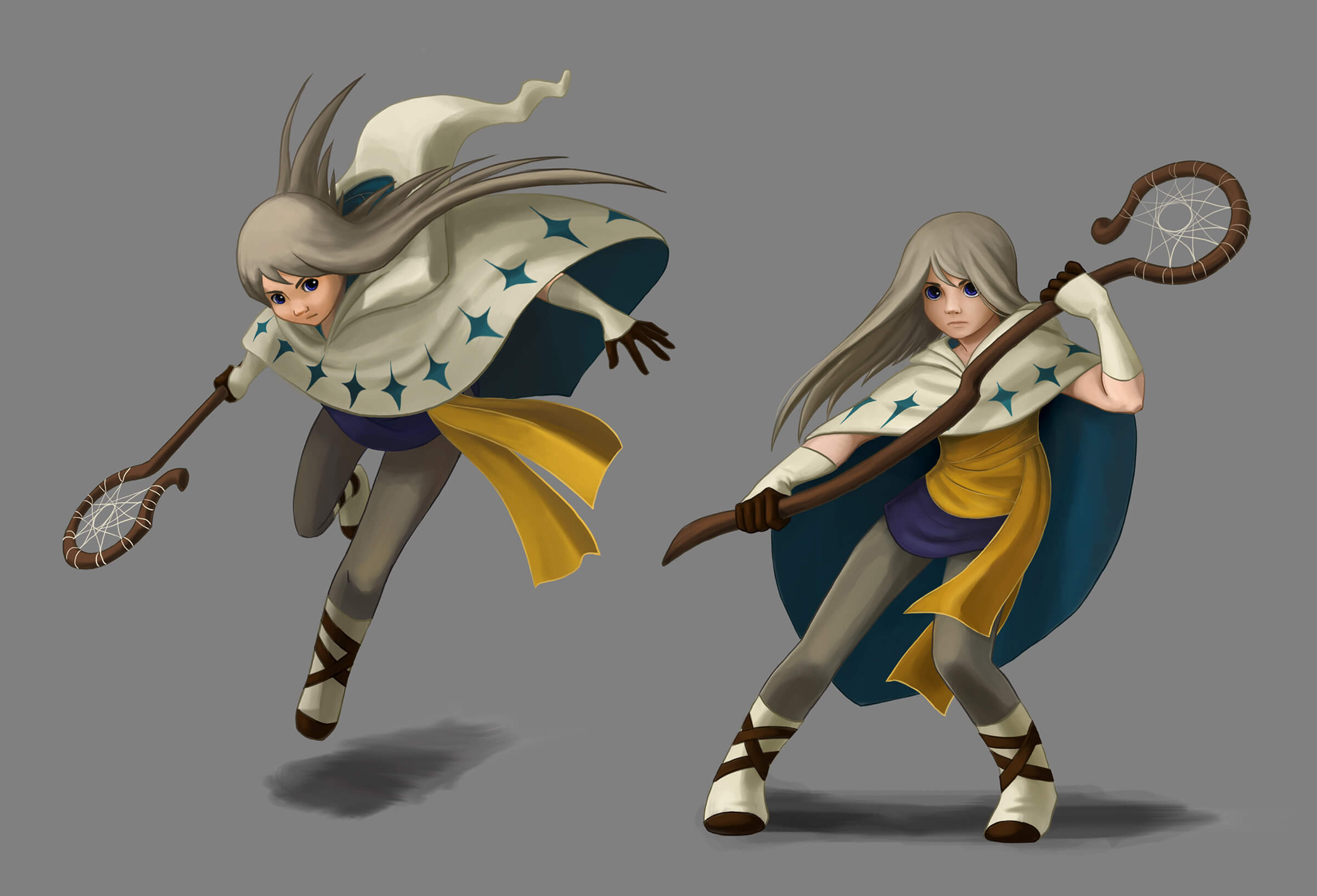 digital paintings of a female character with long hair wearing draped clothing and a cape, carrying a wooden staff