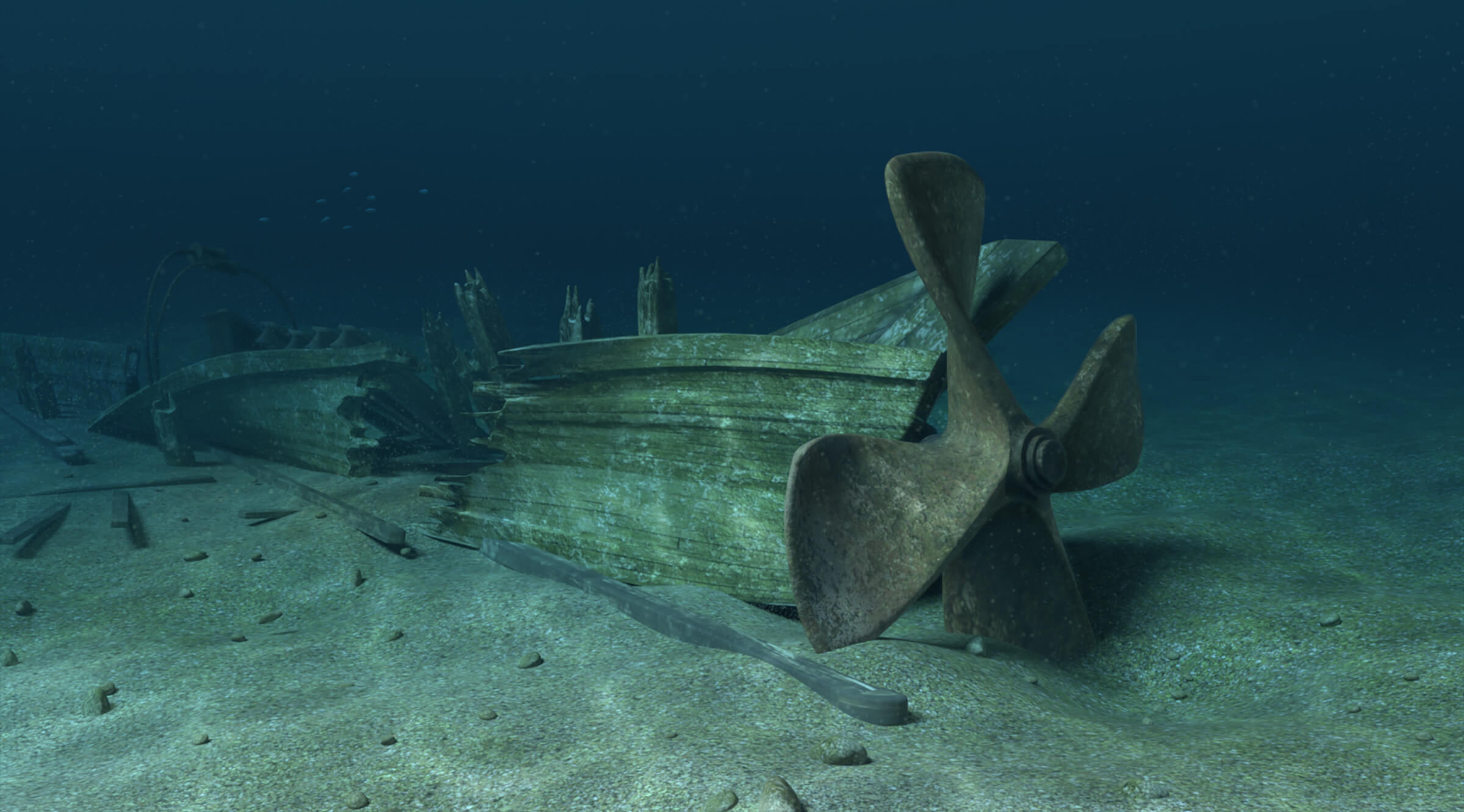 computer-generated 3D underwater environment featuring a sunken ship with a large propeller
