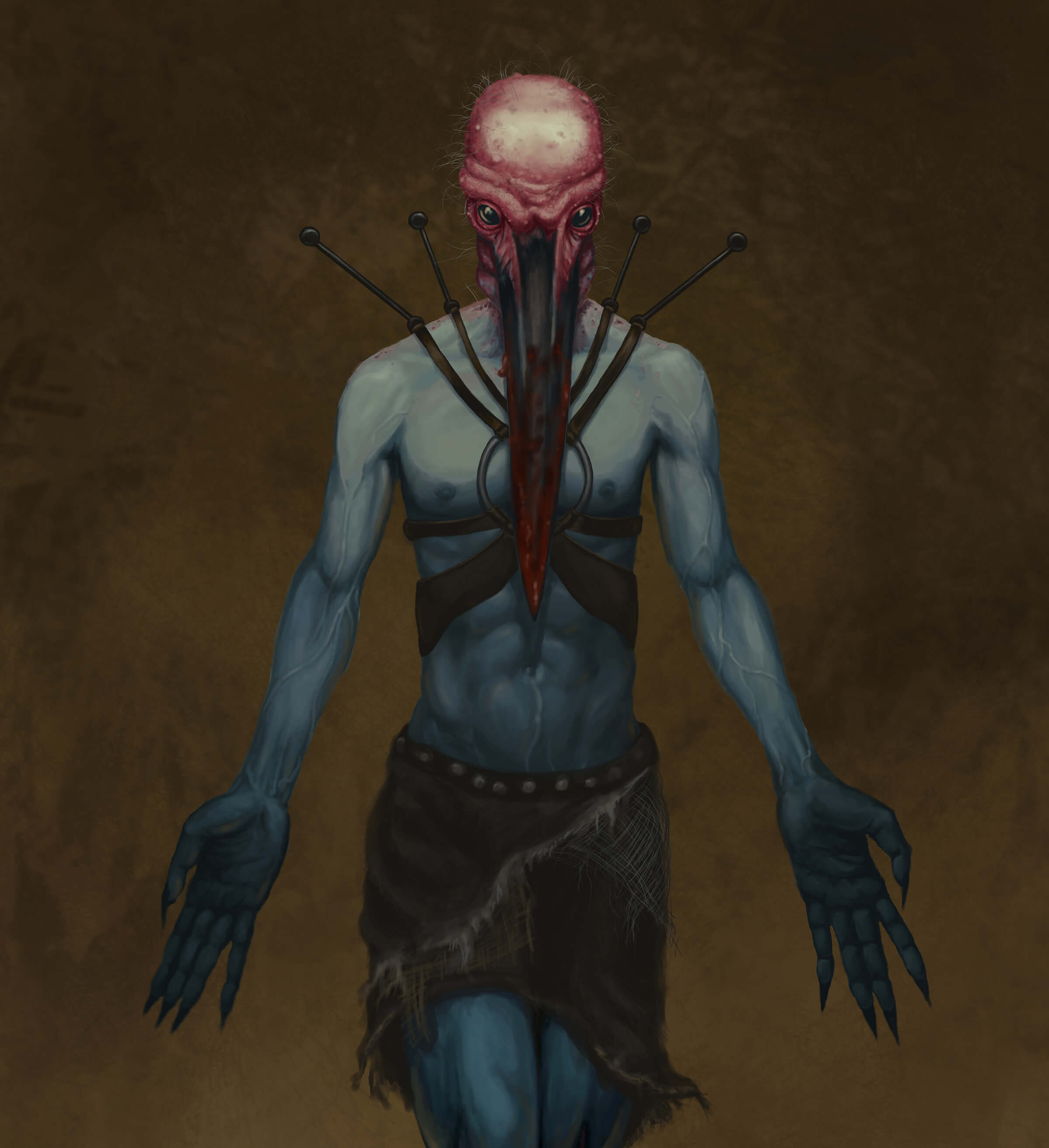 digital painting of a blue-skinned man with the head of an octopus and long fingers
