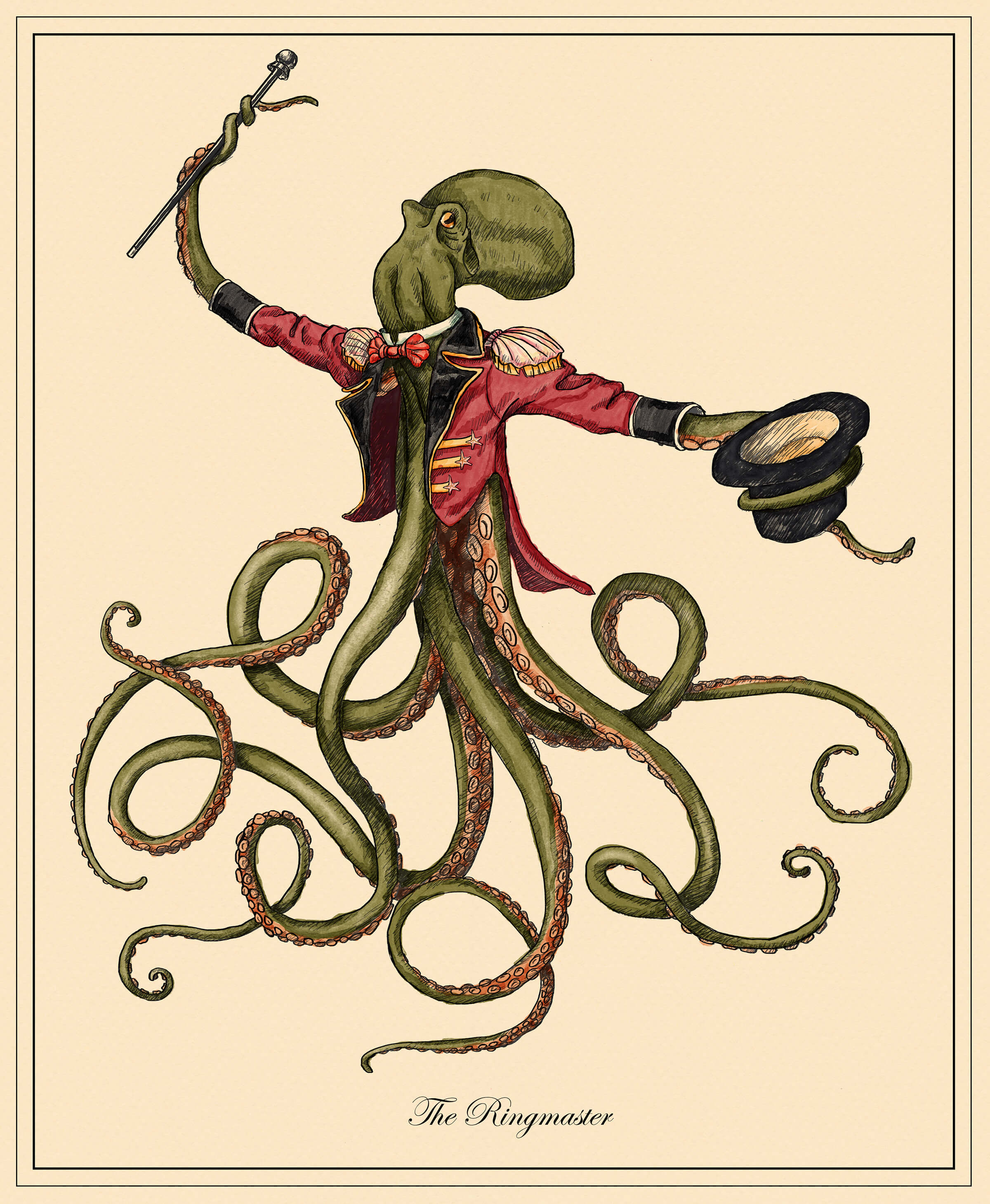 digital painting of an octopus in a circus ringmaster's costume holding a top hat