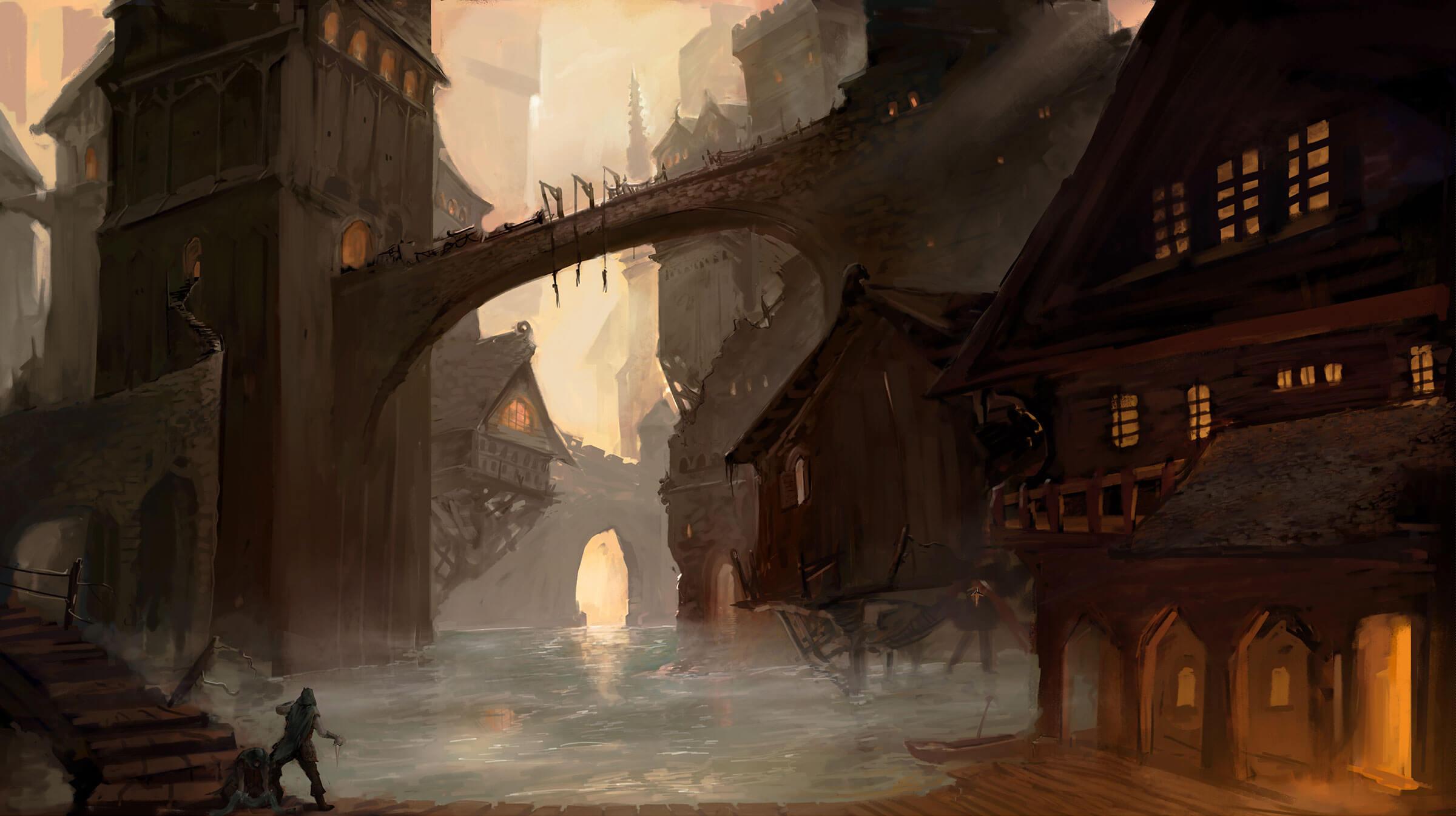 A coastal, medieval village