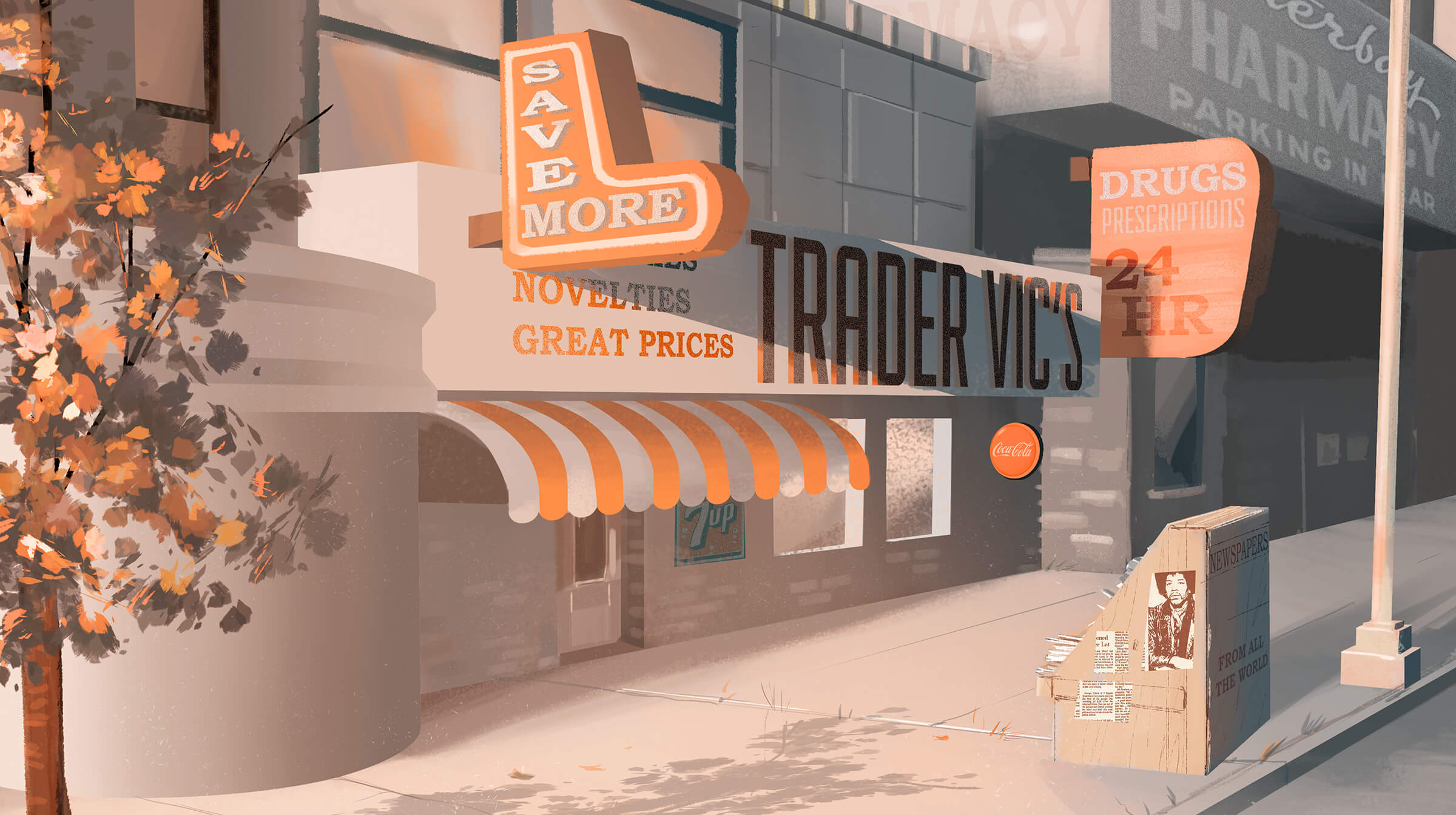 digital painting of a store called trader vic's, rendered in shades of orange and grey