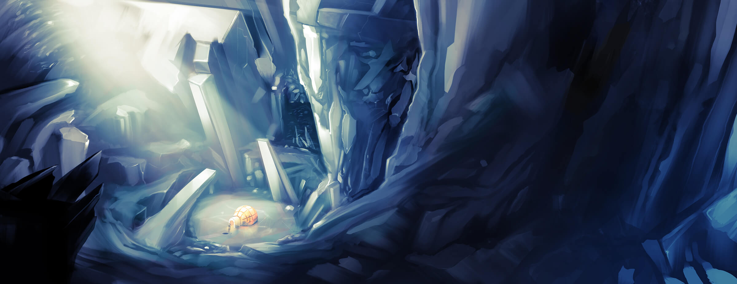 digital painting of a small igloo at the bottom of an ice-filled cavern with rays of sunlight