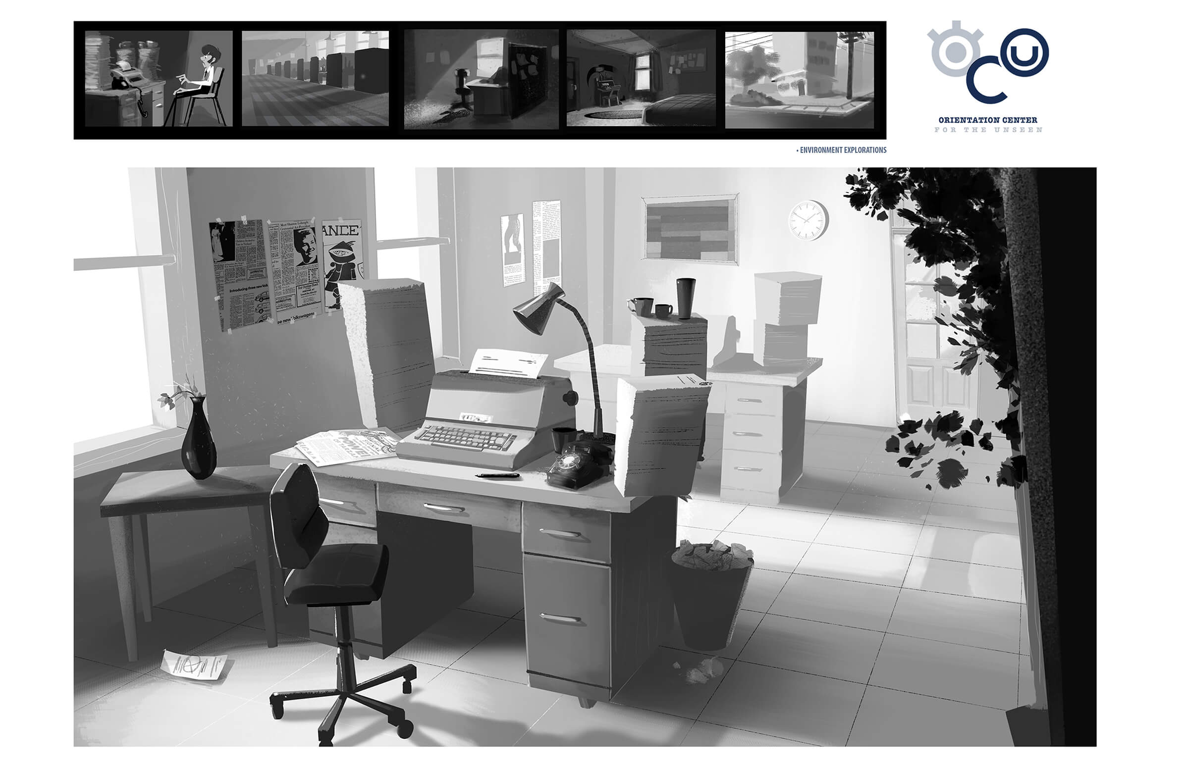 "digital paintings of the office from student animation ""orientation center for the unseen"" and other locations"
