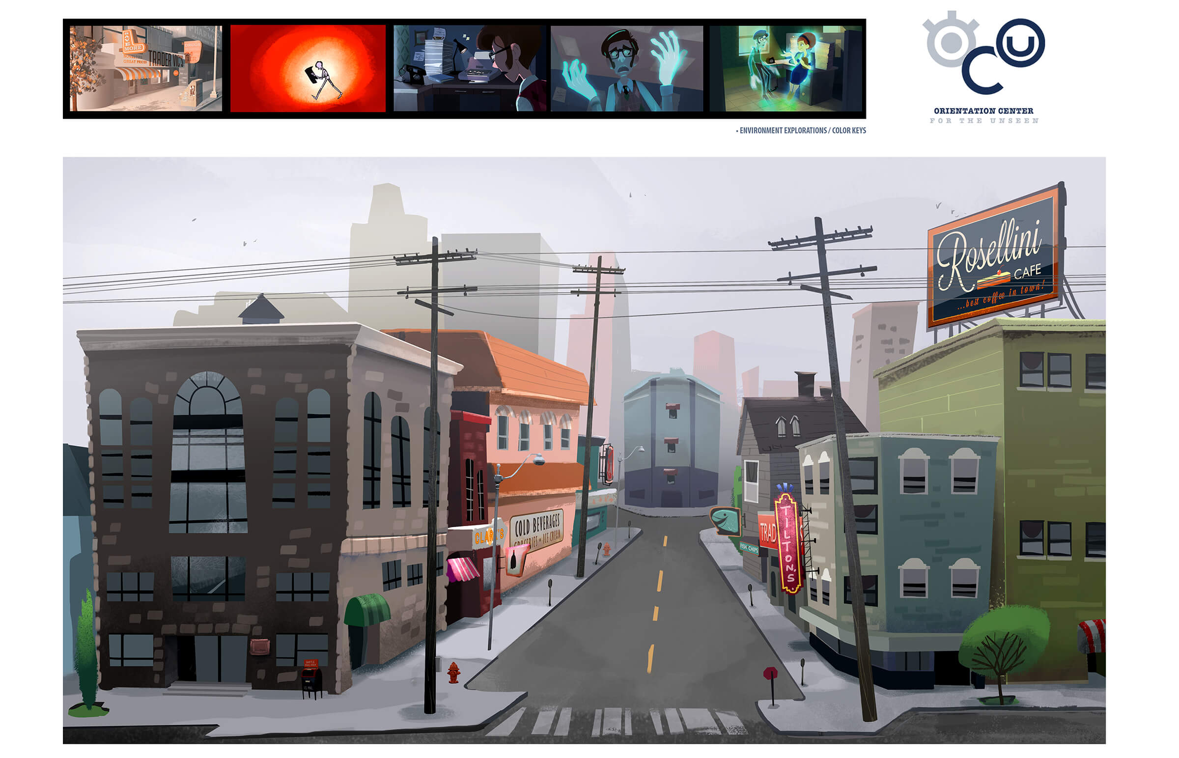 "digital paintings of a city street from student animation ""orientation center for the unseen"" and other locations"