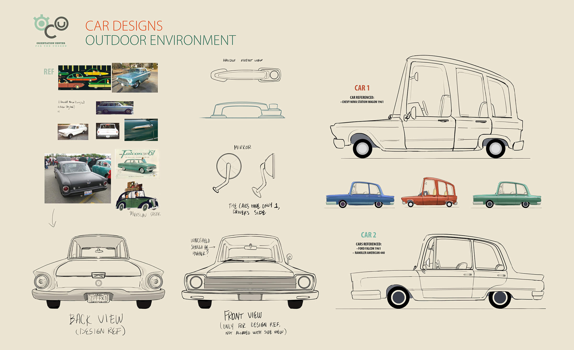 "digital paintings of the various cars featured in student animation ""orientation center for the unseen"""