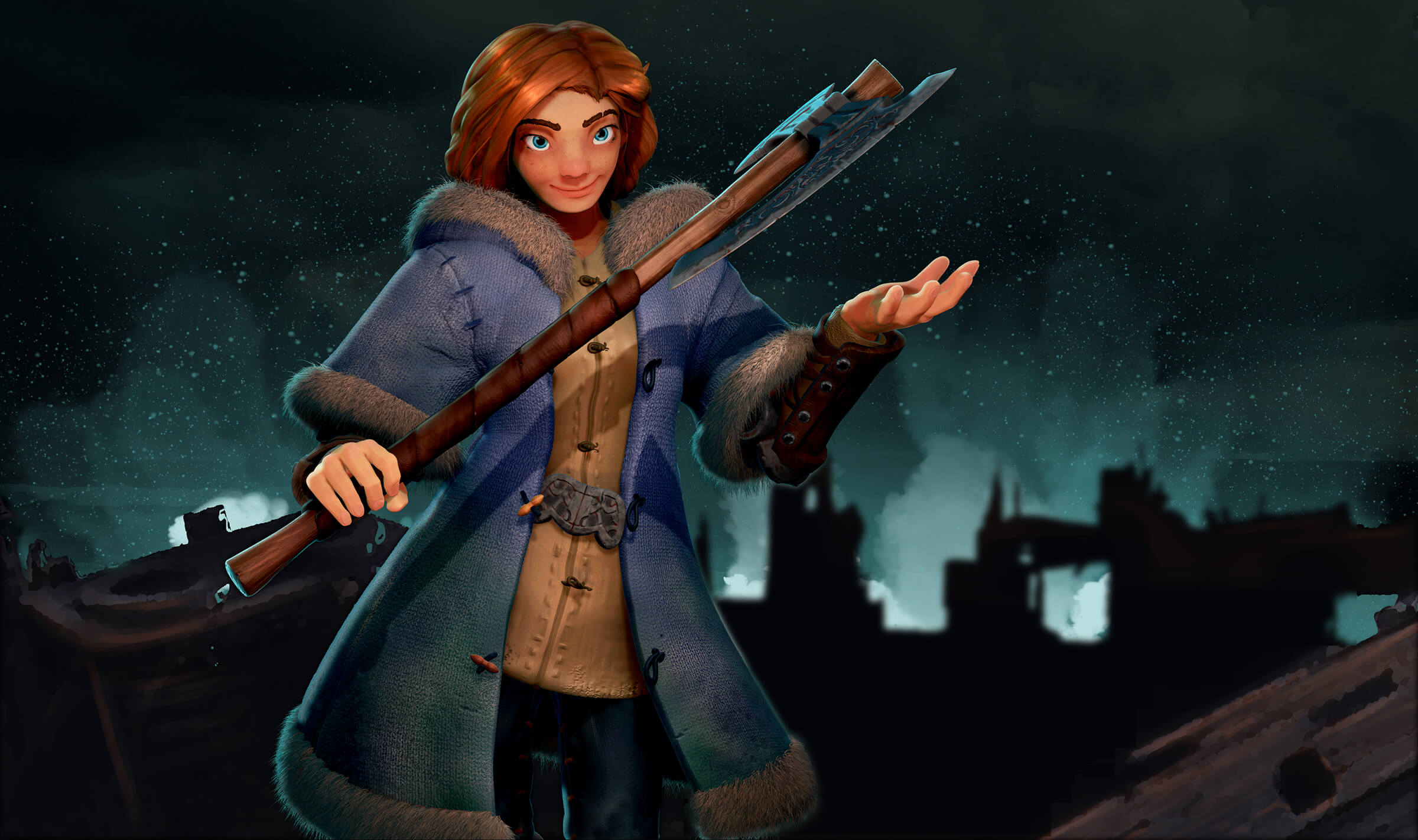 computer-generated 3D model of a character in a long, fur-trimmed coat carrying a battle axe
