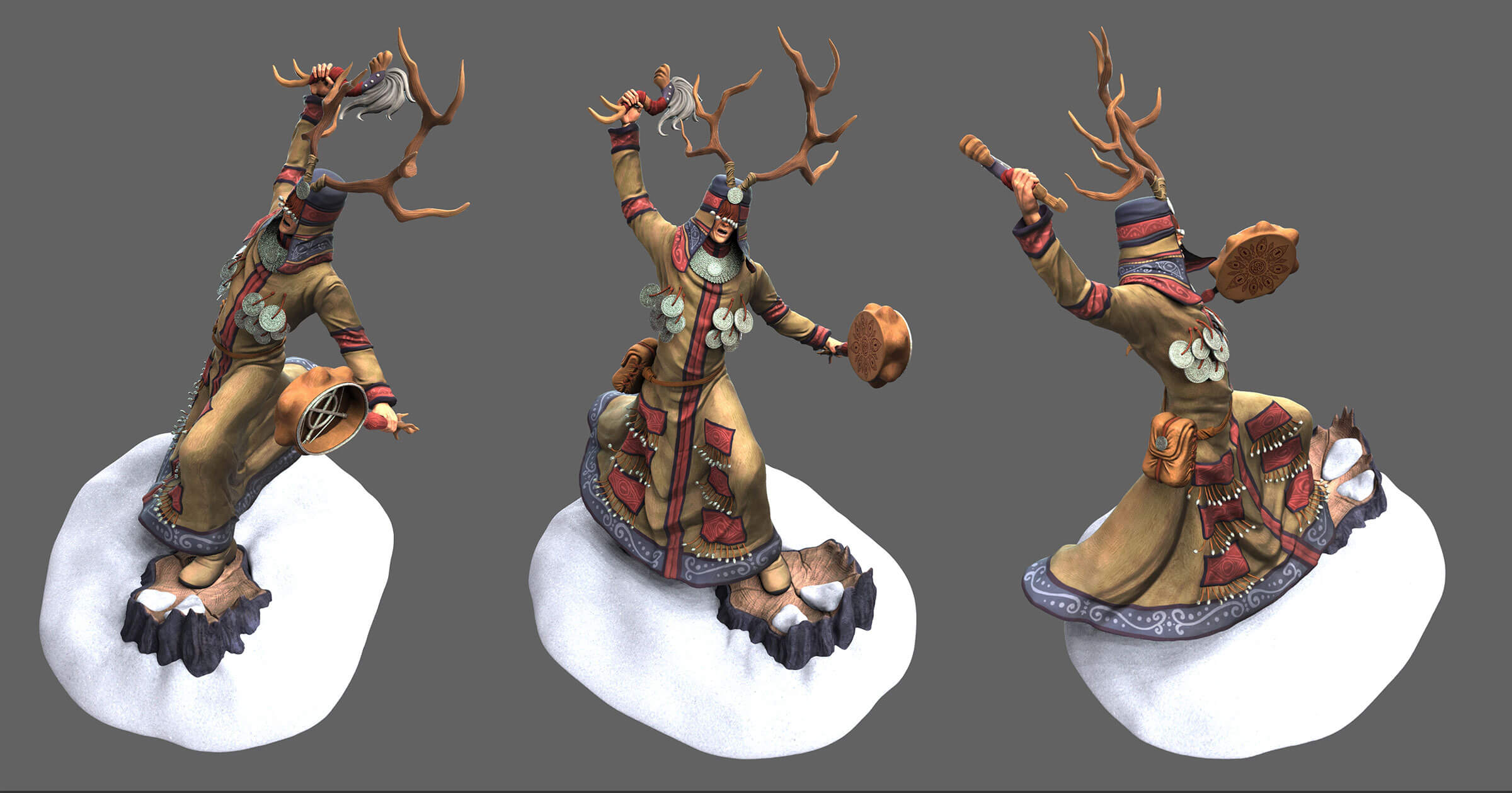 Three views of a shaman about to strike a handheld animal-skin drum wearing a brown frock and antlered headdress.