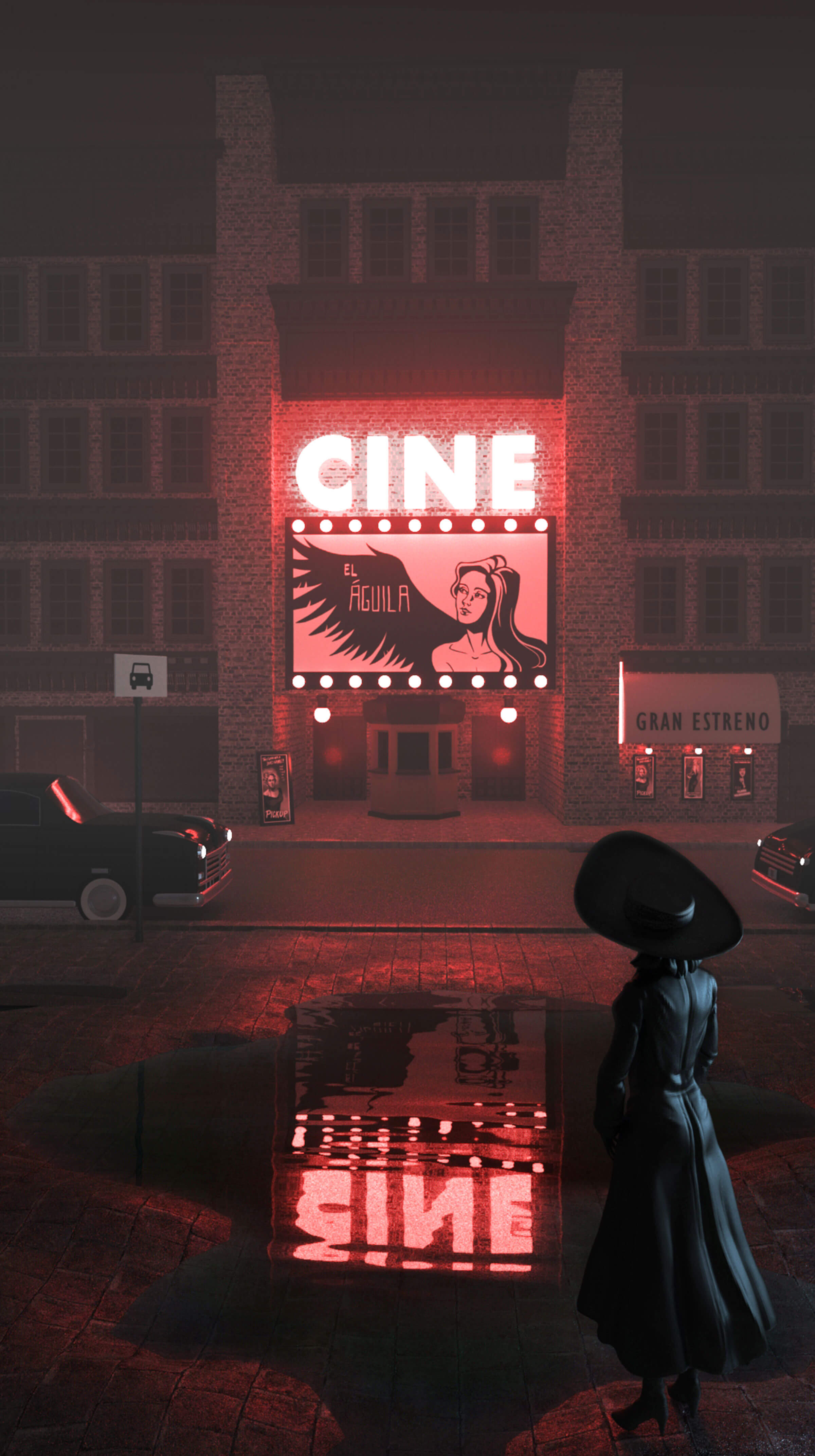 A woman in a black hat and coat is seen from behind staring at the red-lit marquee of a movie theater across the street.