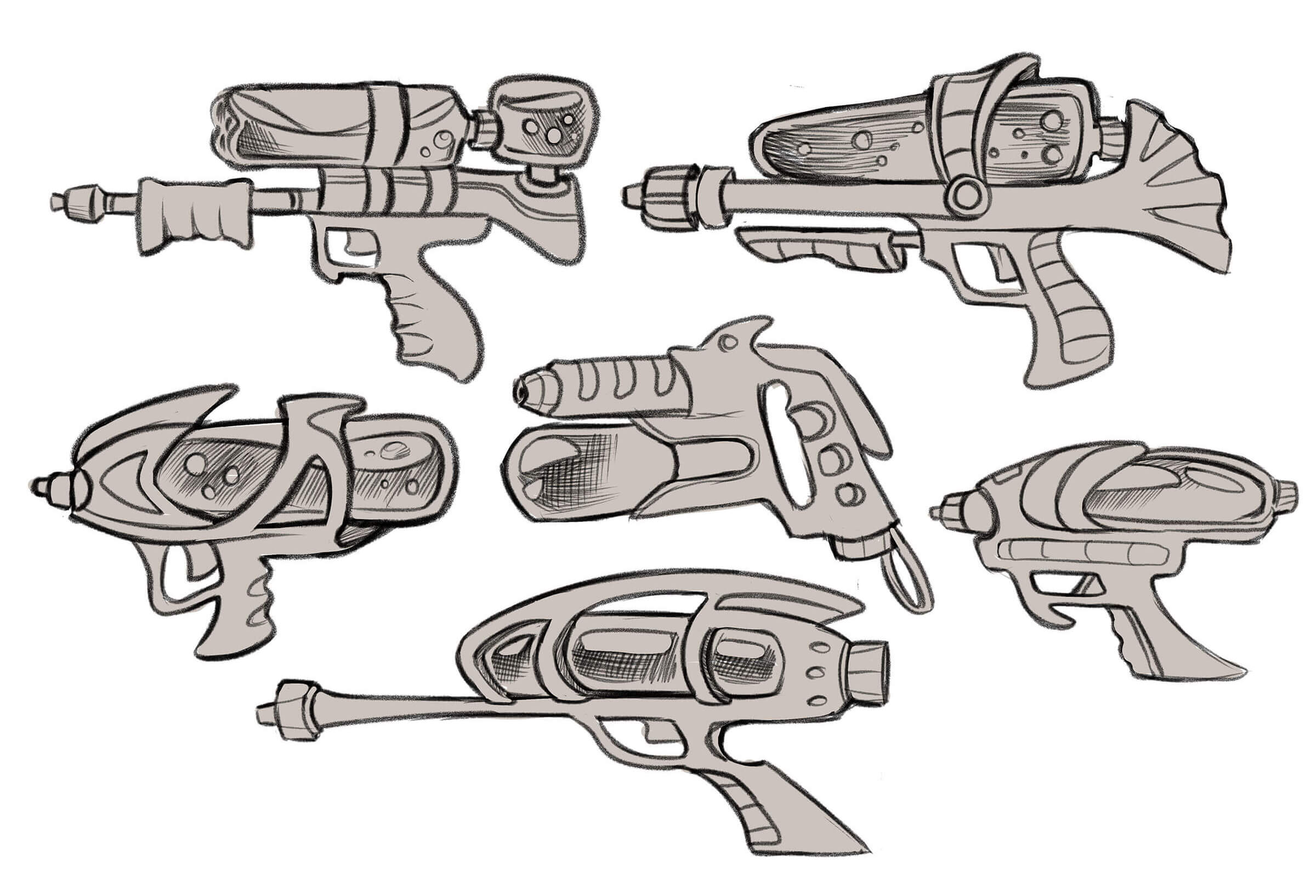Sketches of sci-fi water guns