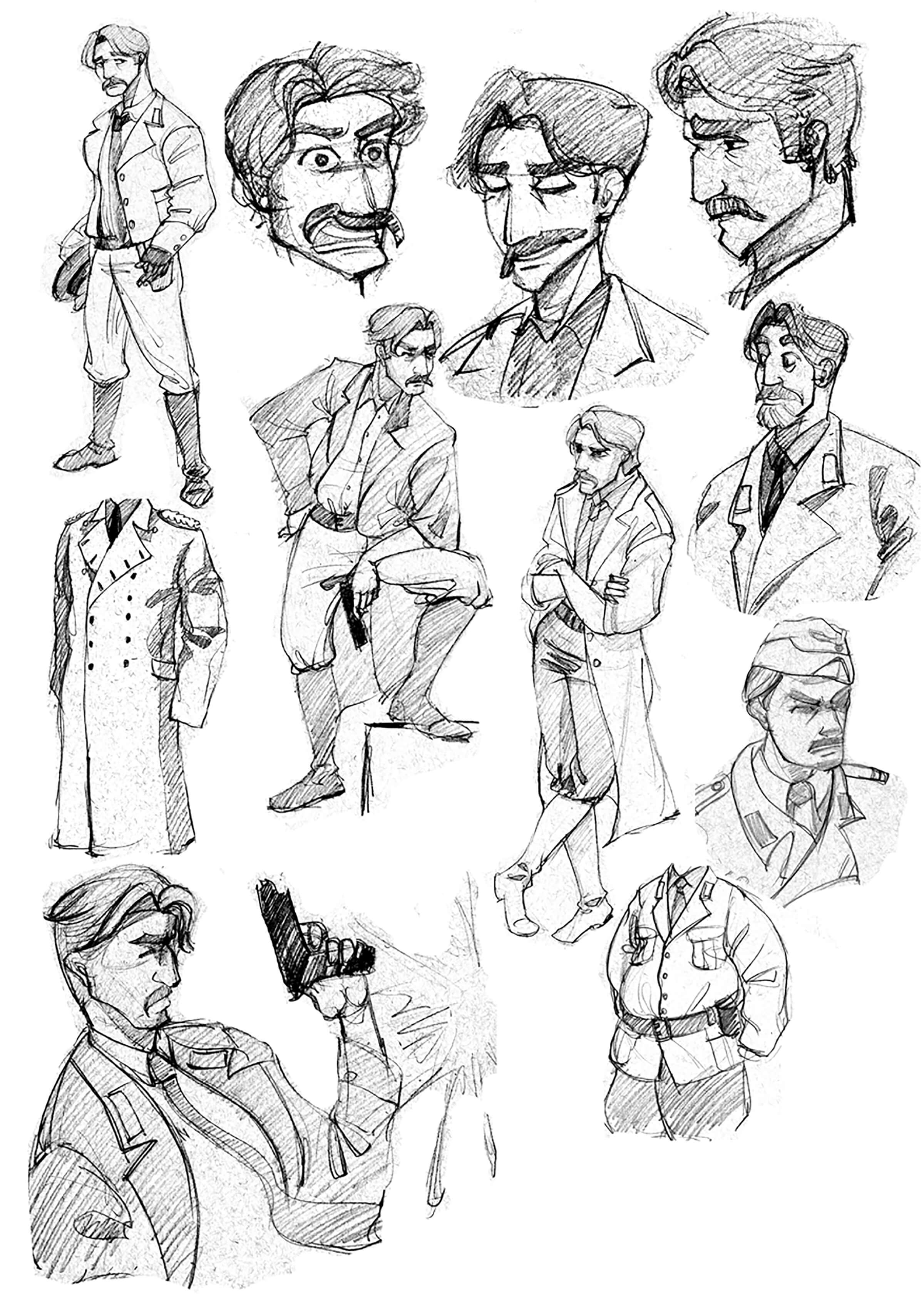 black and white drawings of a mustachioed man in a long overcoat in various poses