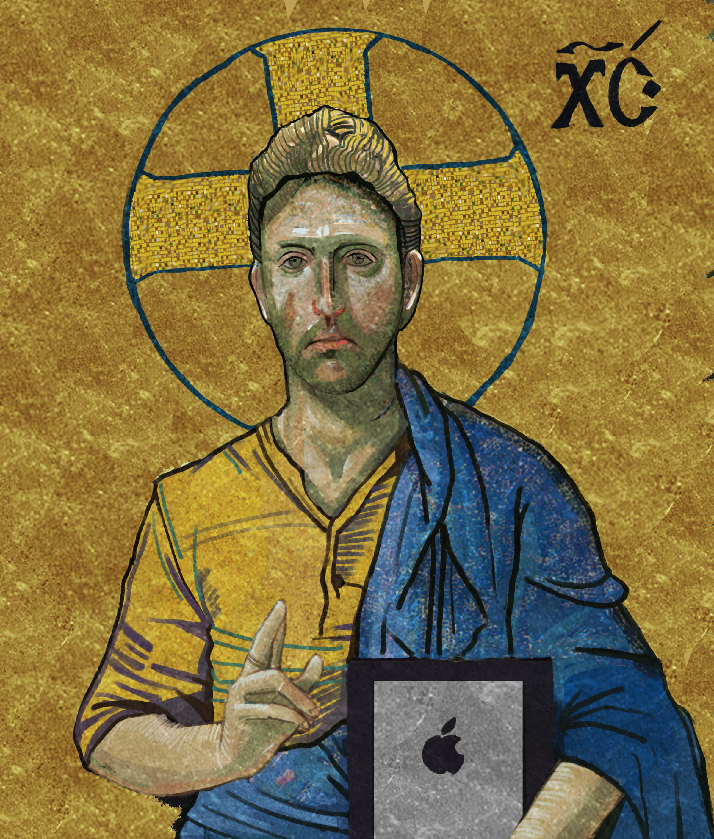 traditional painting of haloed man in a yellow shirt and blue robe holding an ipad