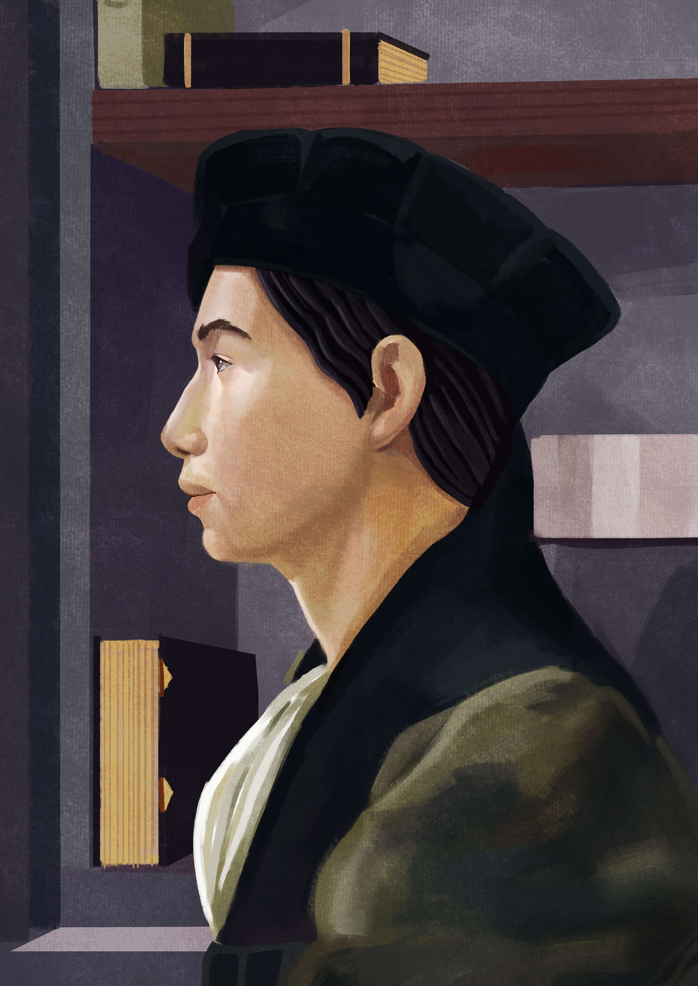 traditional painting of an asian man in profile in front of a bookcase