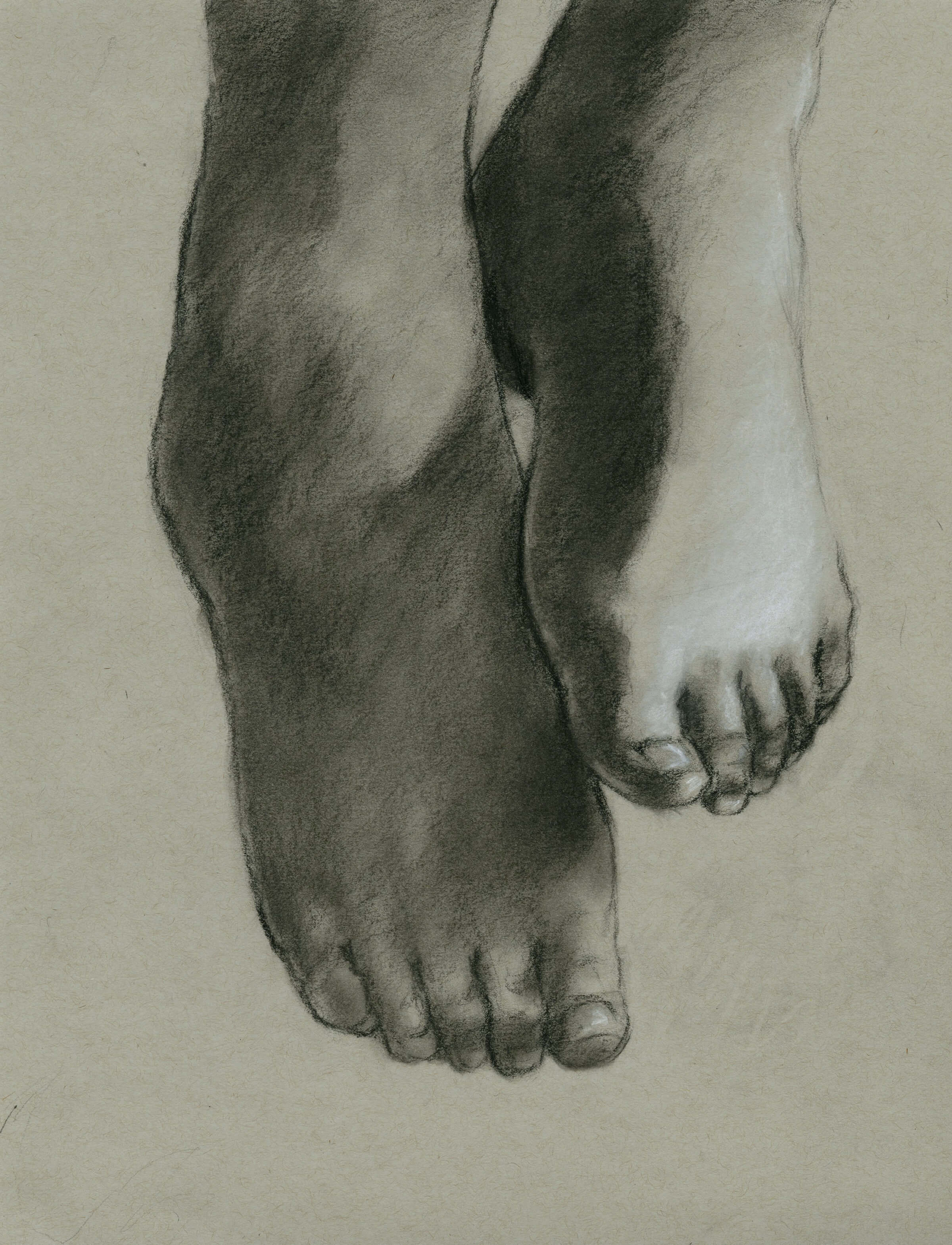black and white drawing of feet