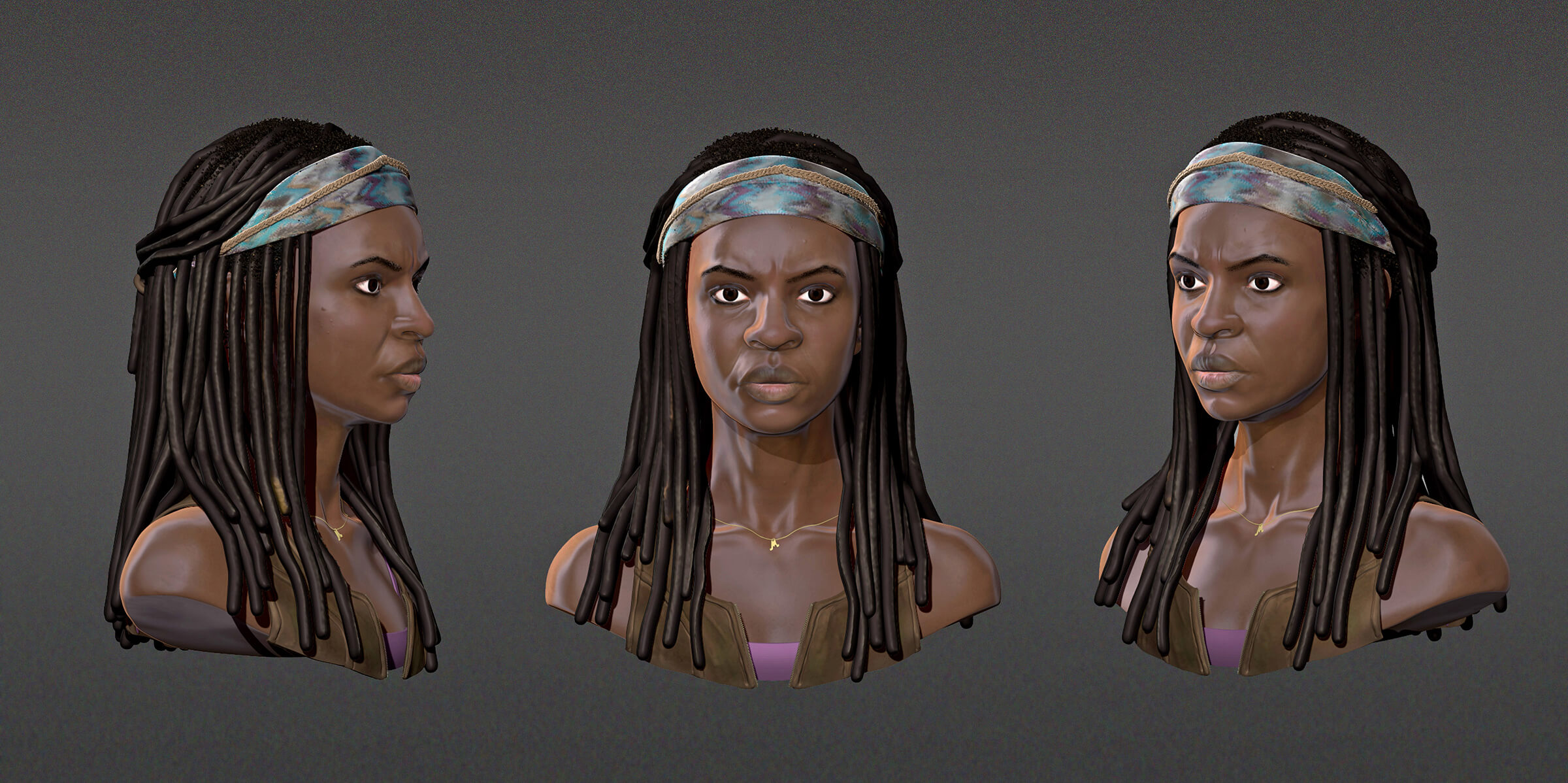 computer-generated 3D model of a fierce-looking black woman with 3 views - profile, head-on and partial profile