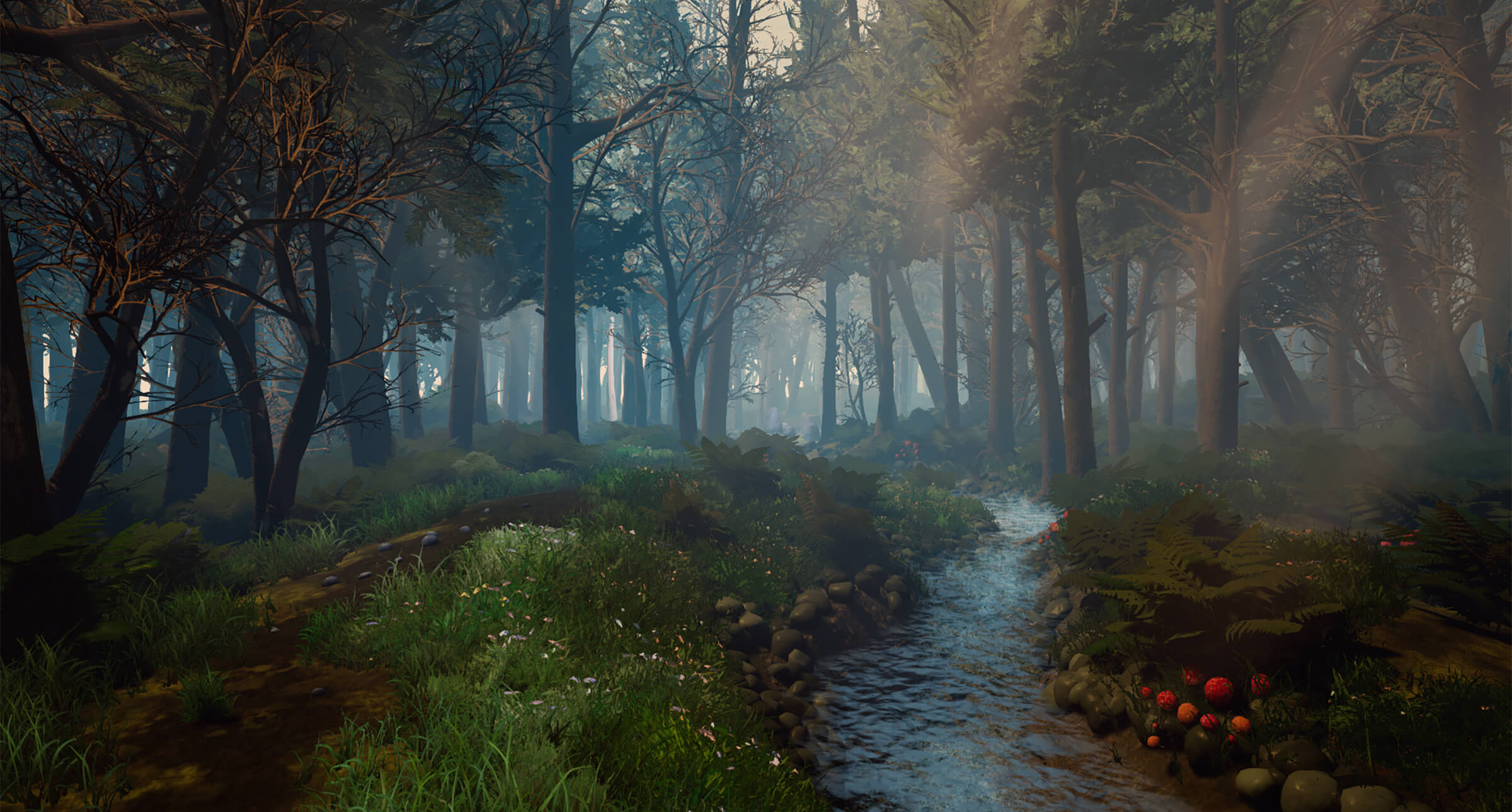 computer-generated forest 3D environment with a stream and sun rays piercing the tree canopy