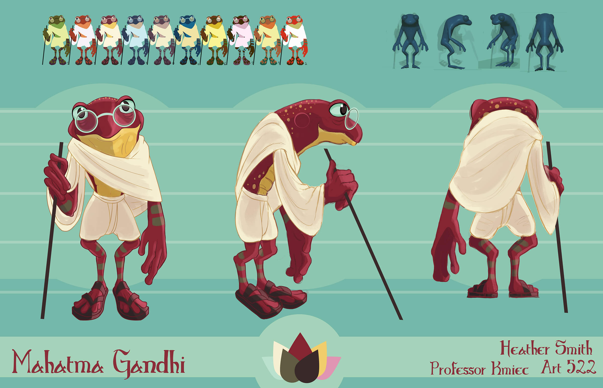 computer-generated 3D model of a frog mahatma gandhi holding a walking stick