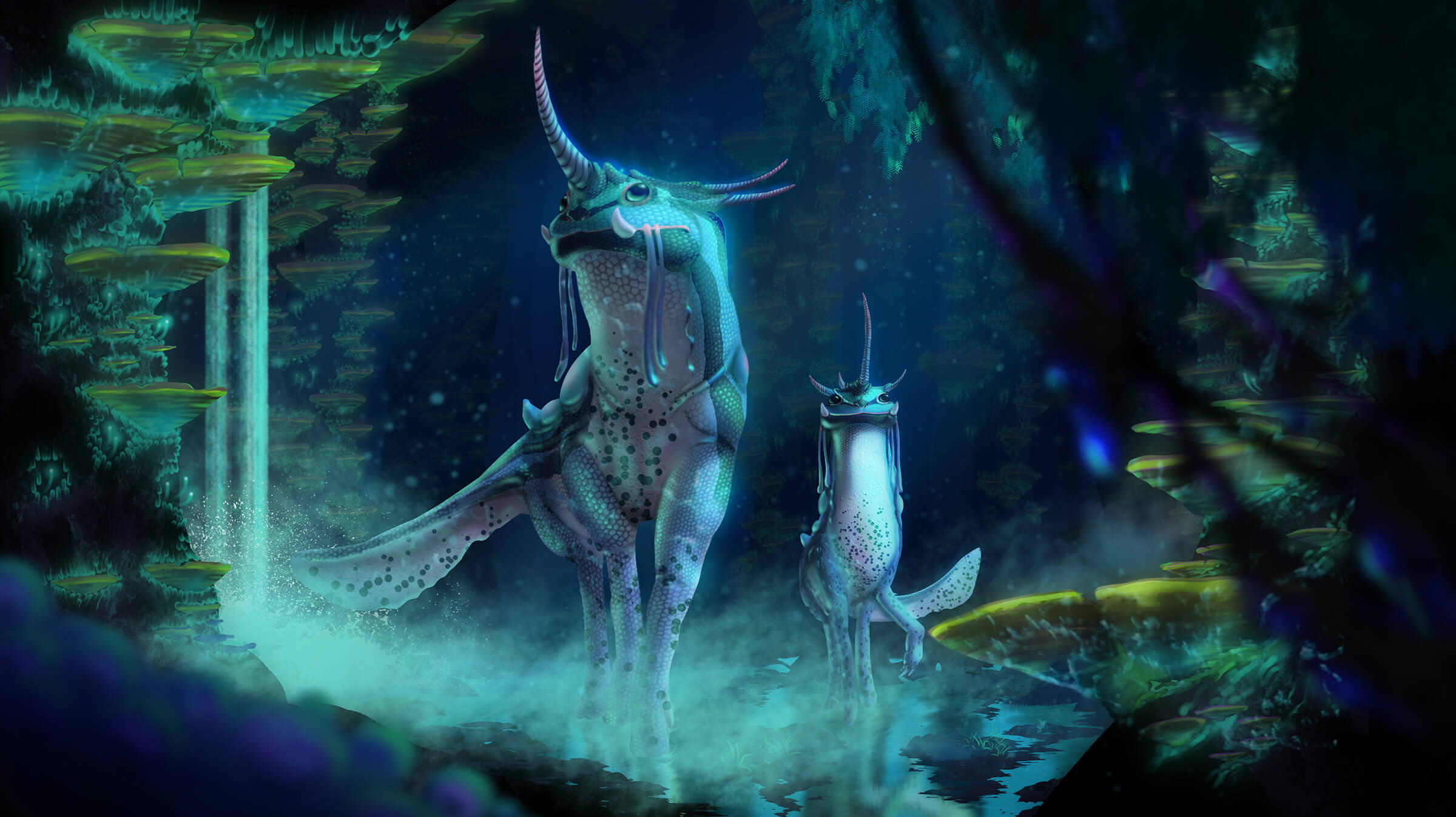 computer-generated 3D models of two unicorn-lizard hybrid animals in a mystical blue and green forest