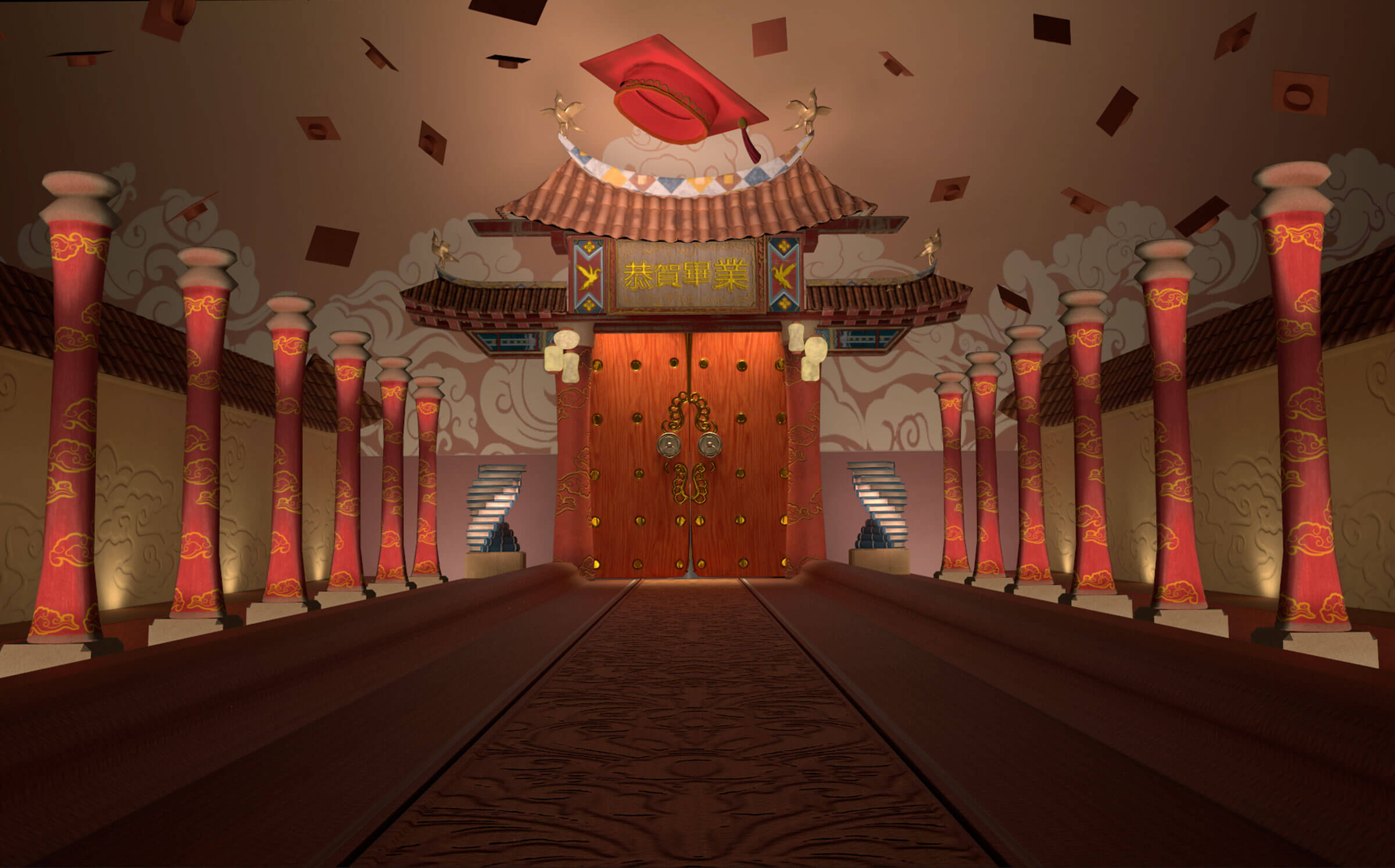 East-Asian-styled hallway with mortarboards in the air