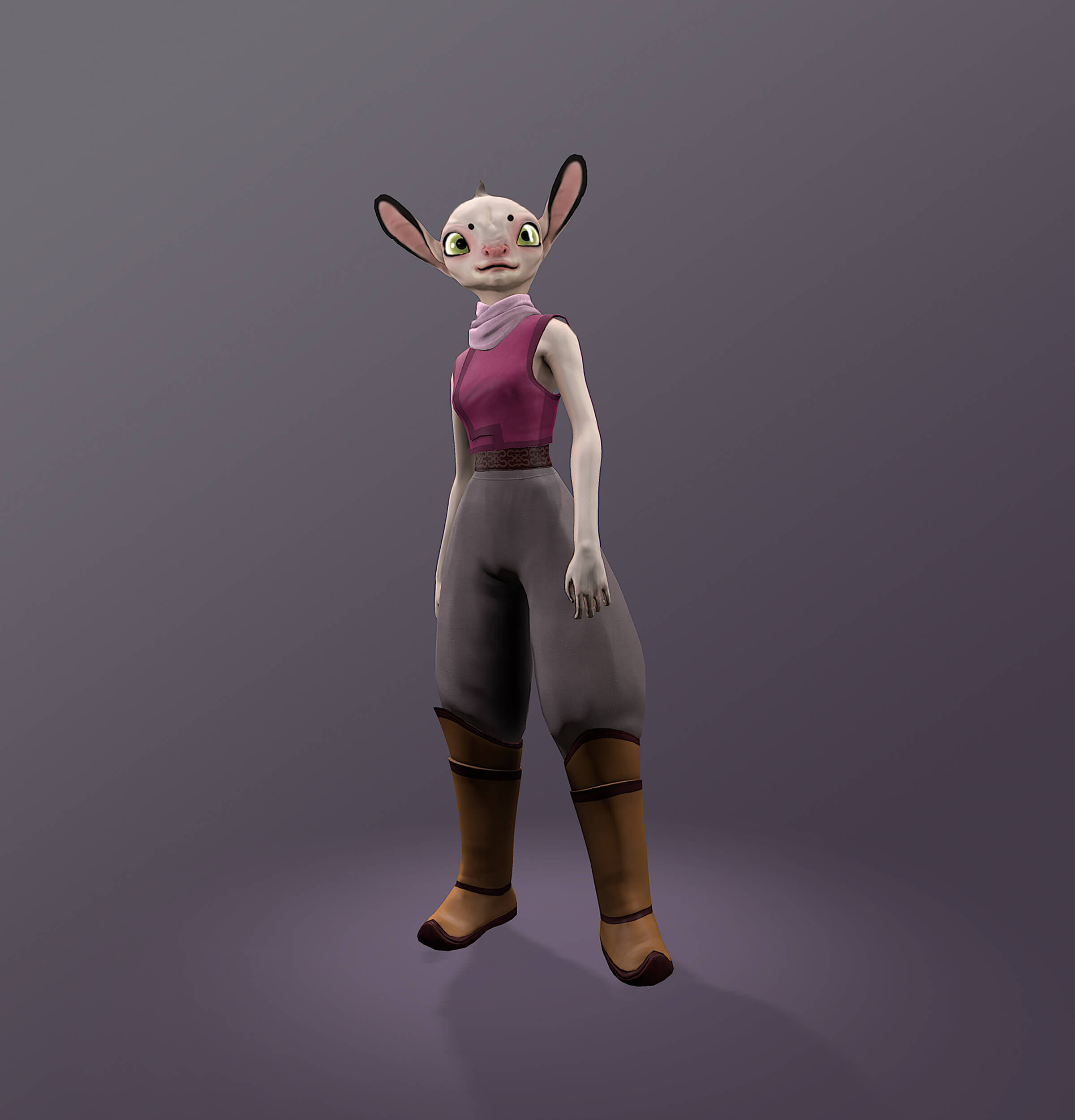computer-generated 3D model of a character with a human body and vaguely cat-like face, with big ears and eyes
