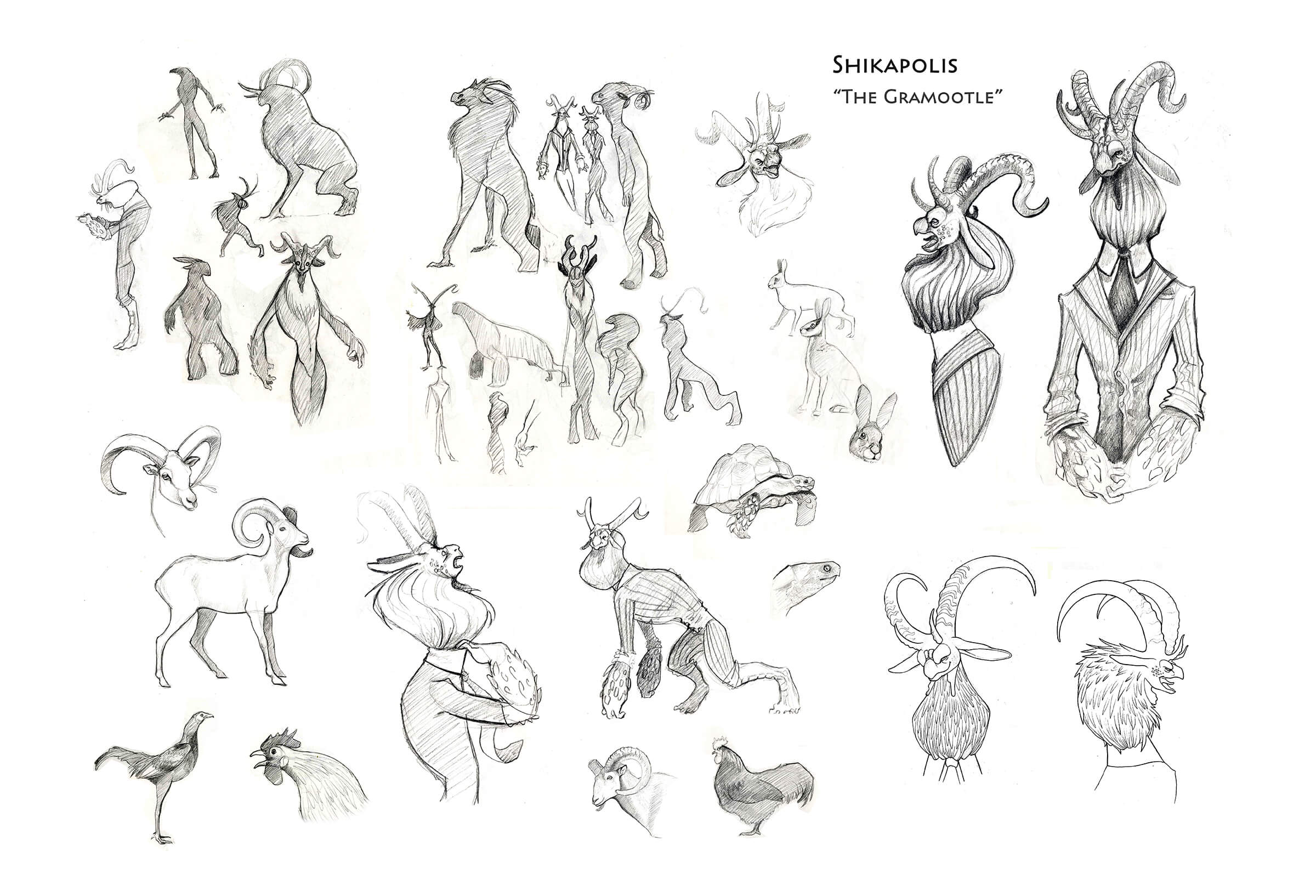 digital painting of a creature resembling an antelope in various poses
