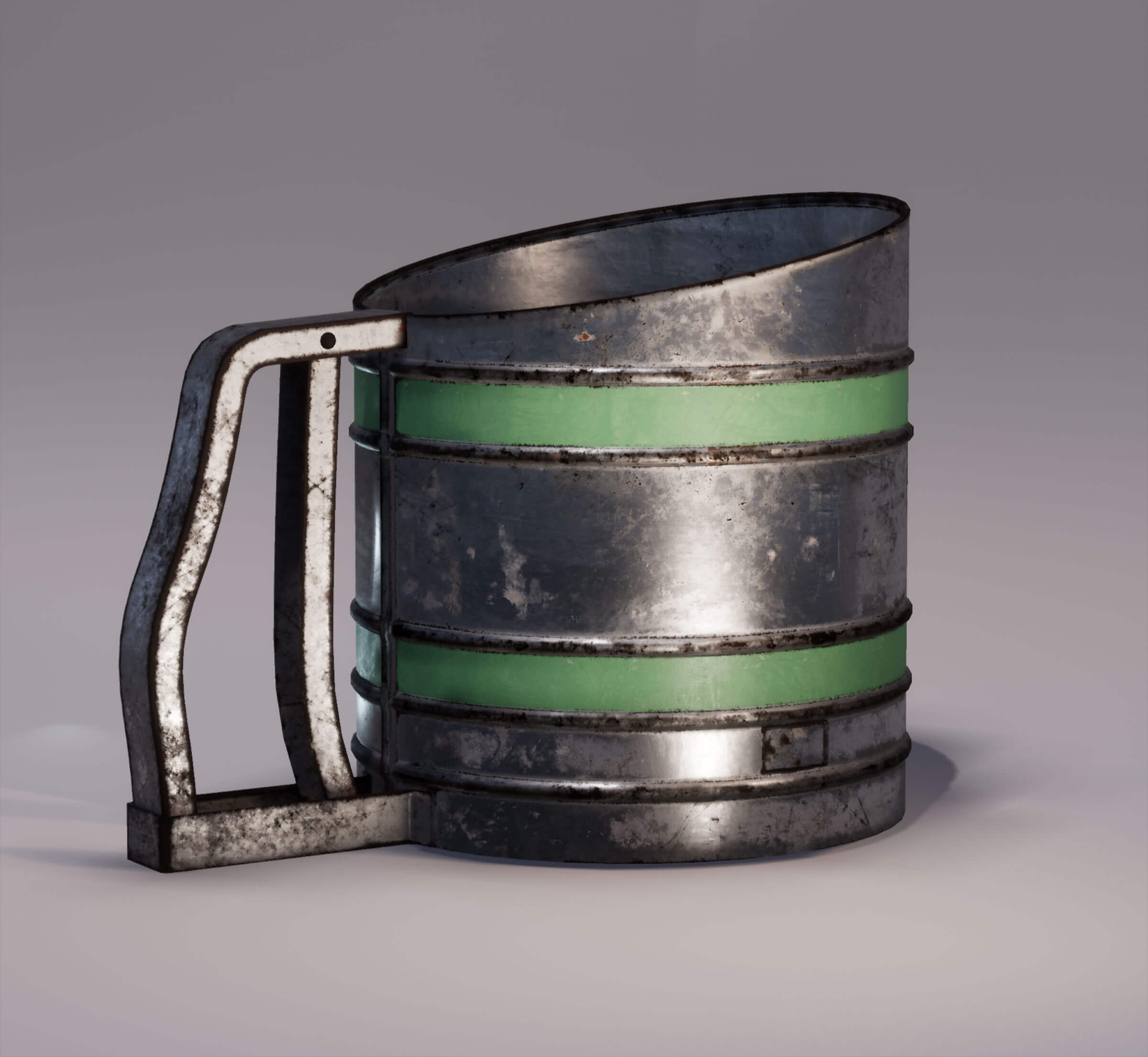 A makeshift, naked-metal mug with green trimming is pockmarked with rust and other wearing.