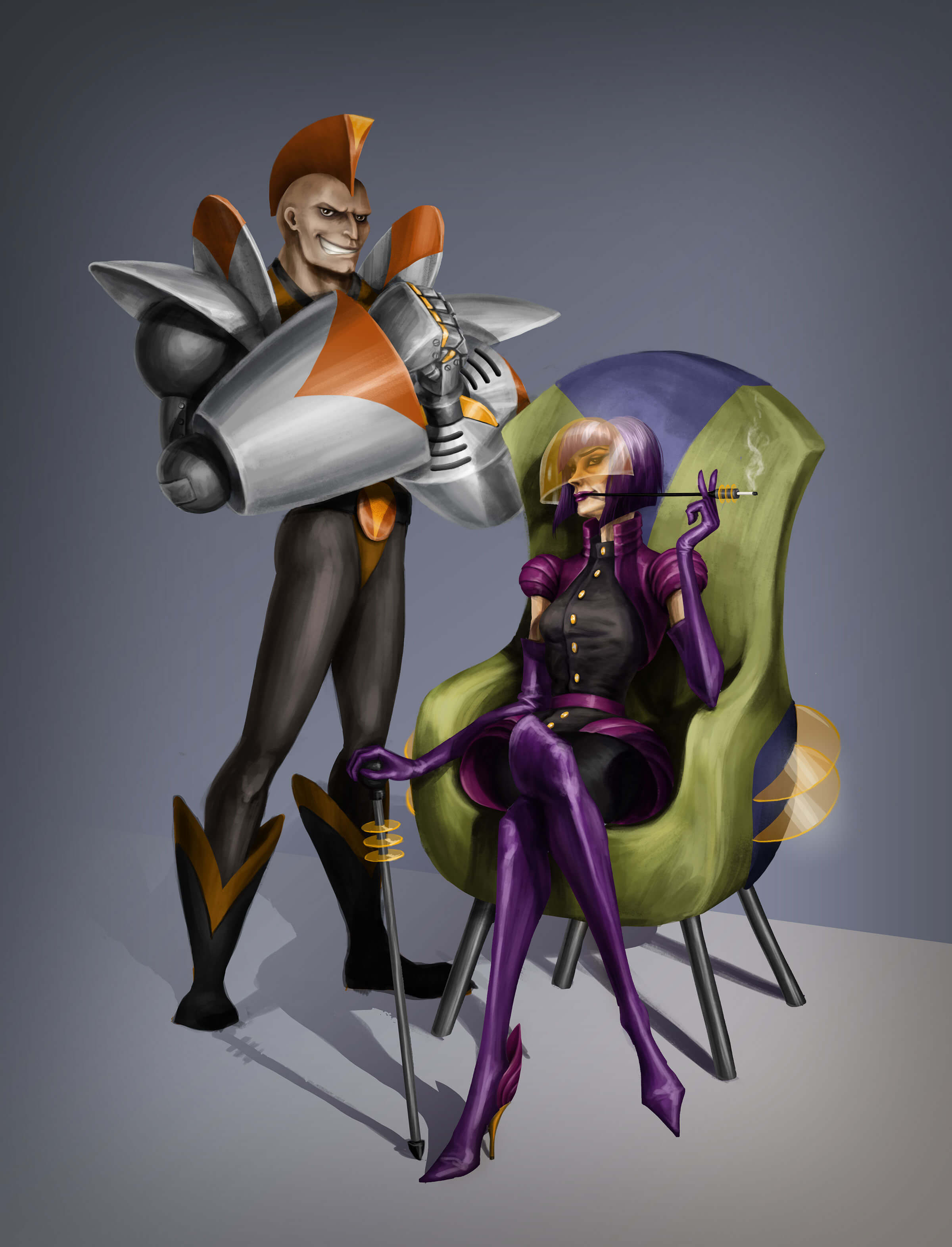 A woman with a futuristic cane and cigarette holder sits in a chair next to a mohawked man in metallic upper-body armor.