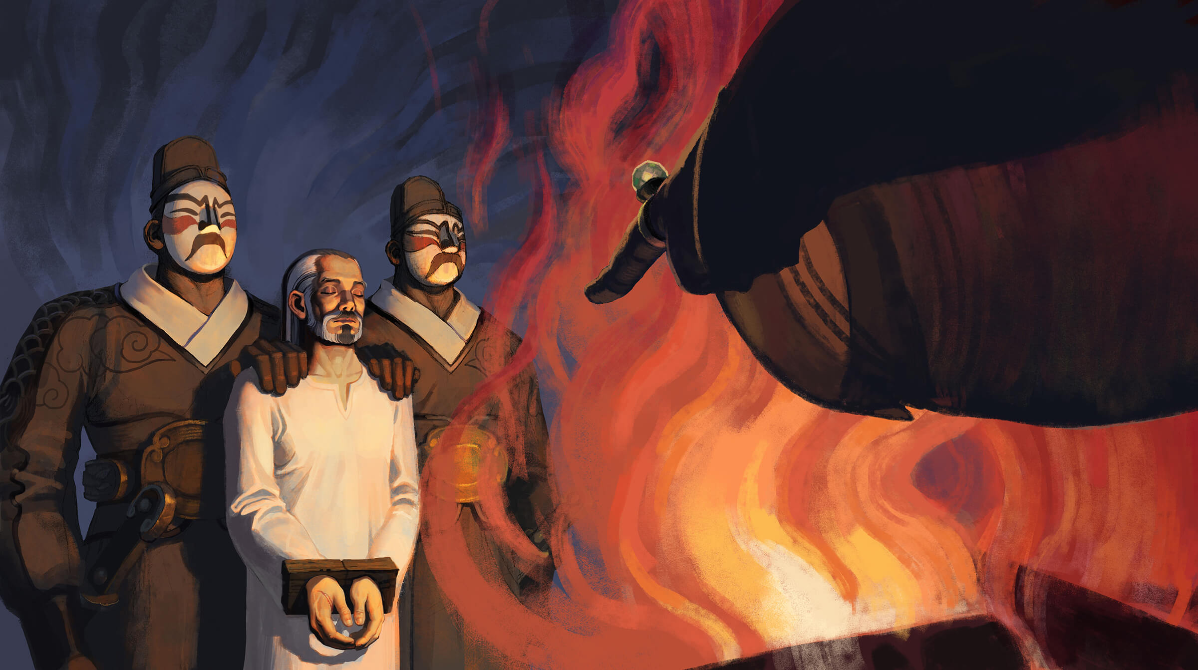 digital painting of a man in a white robe with his hands in cuffs guarded by two soldiers in front of a billowing fire
