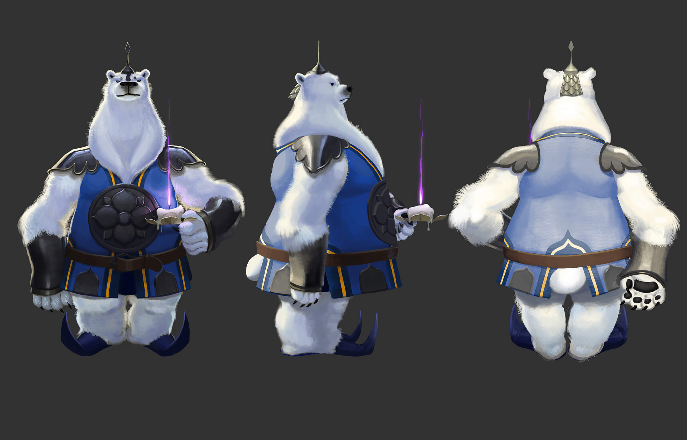 digital painting of a polar bear character standing upright in a soldier's uniform carrying a lit candle