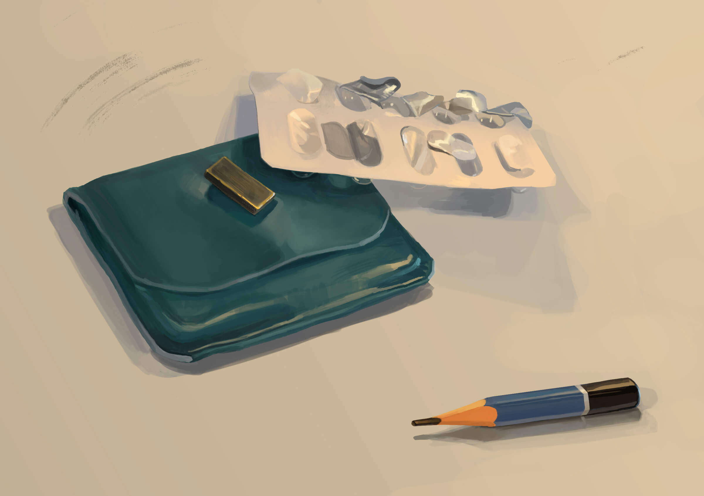still-life traditional painting of a green wallet, a blister pack of pills, and a short pencil