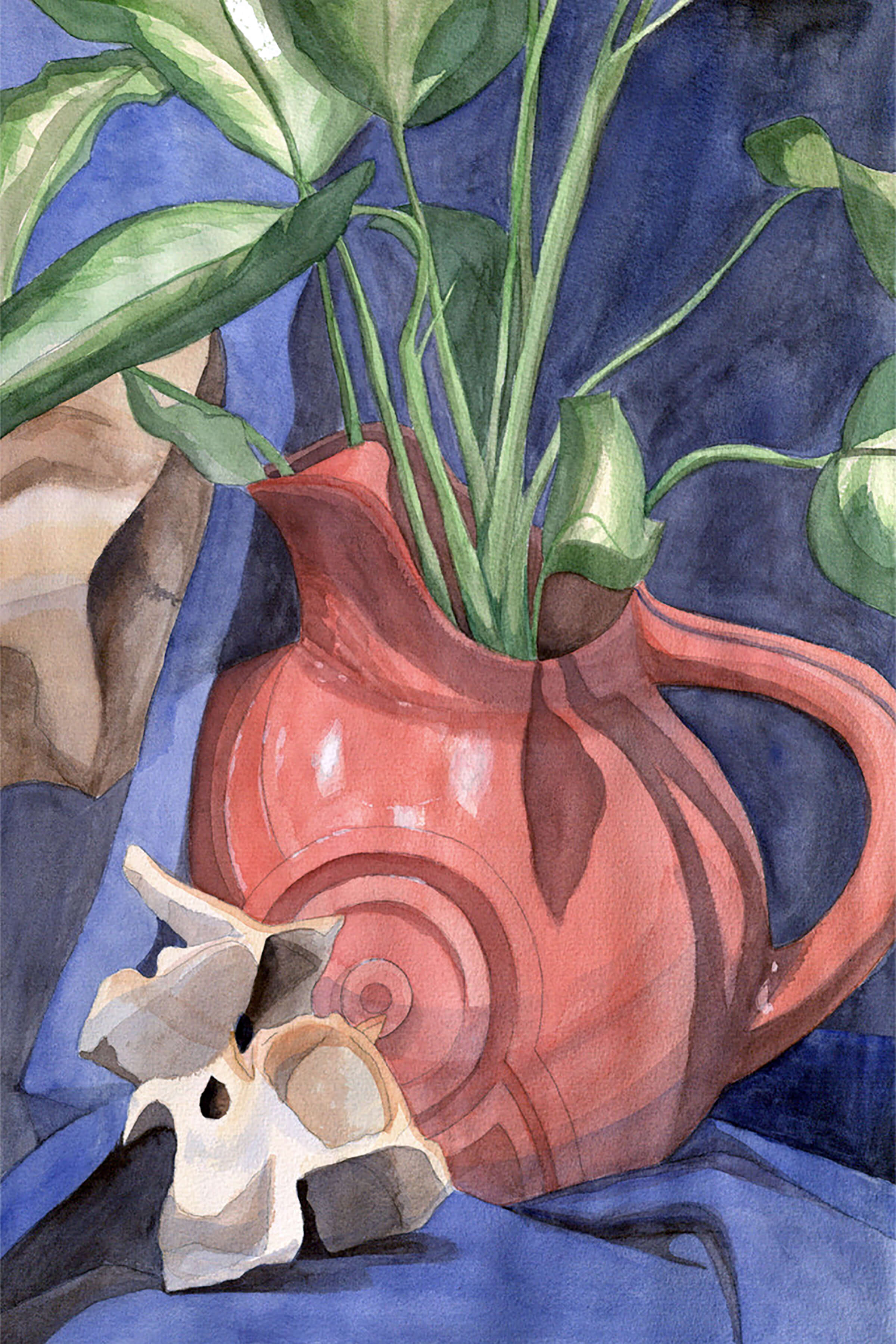 still-life traditional painting of a red pitcher filled with greenery against a blue draped background