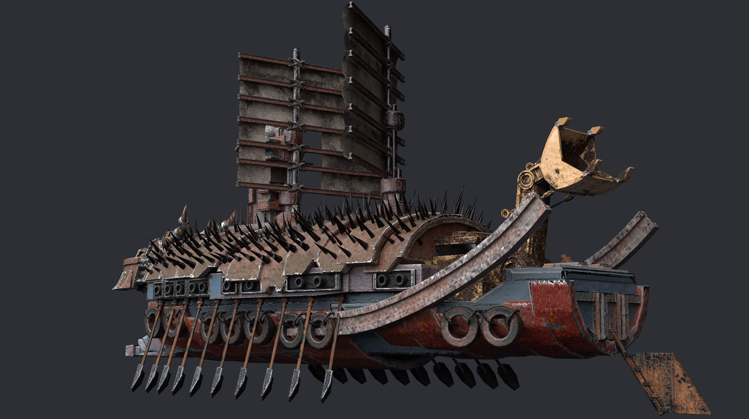 computer-generated 3D model of a ship with 20 oars and spikes on its roof