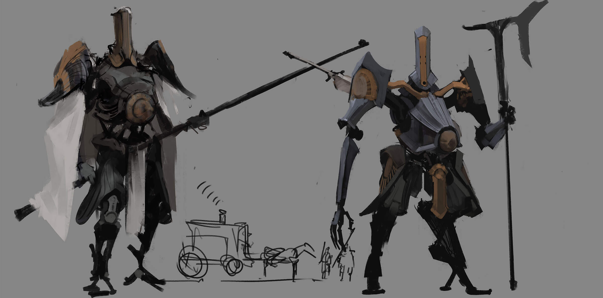 Sketches of large robots wielding weapons