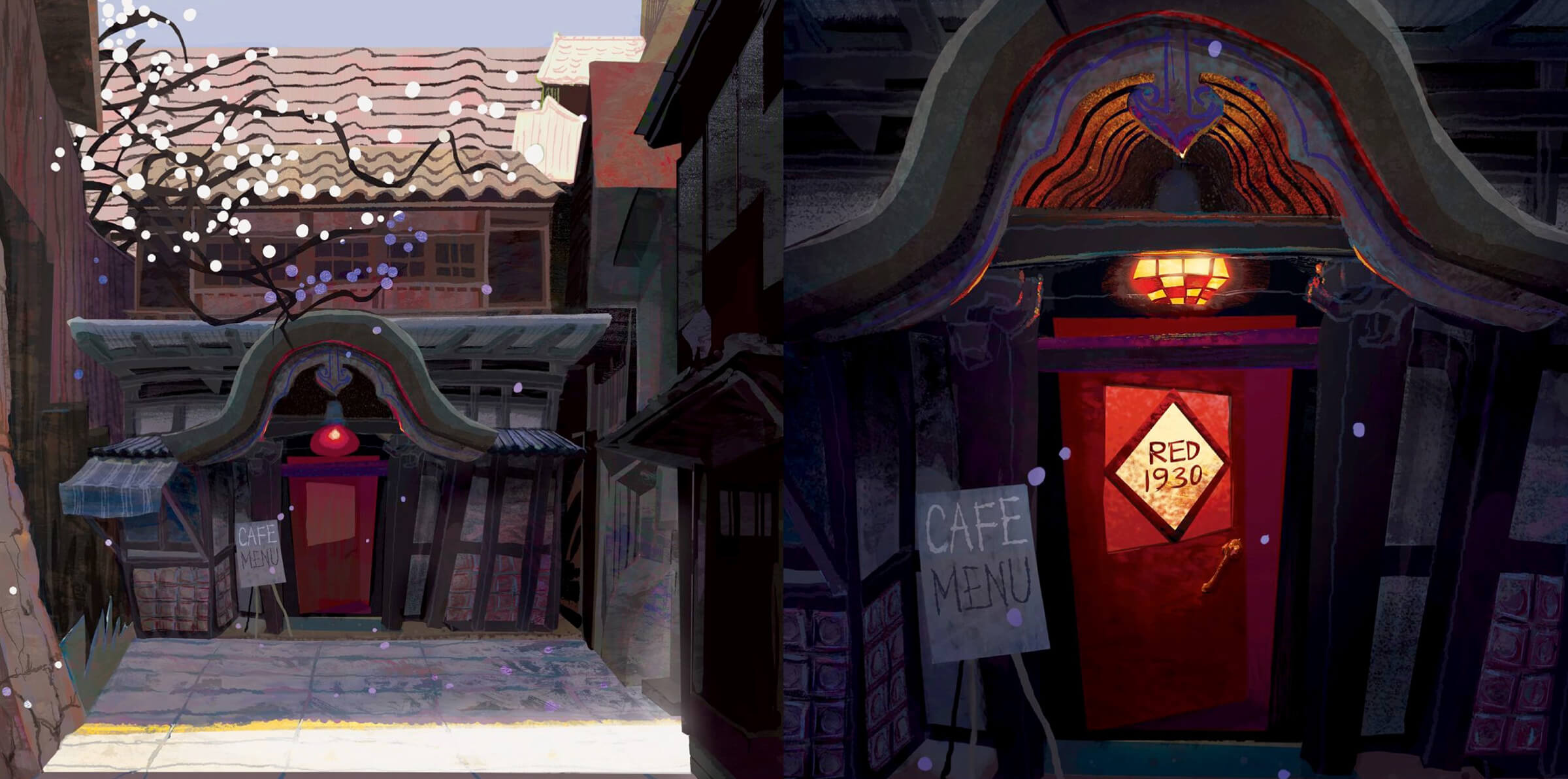 digital paintings of the red 1930 cafe door and menu during the day and at night