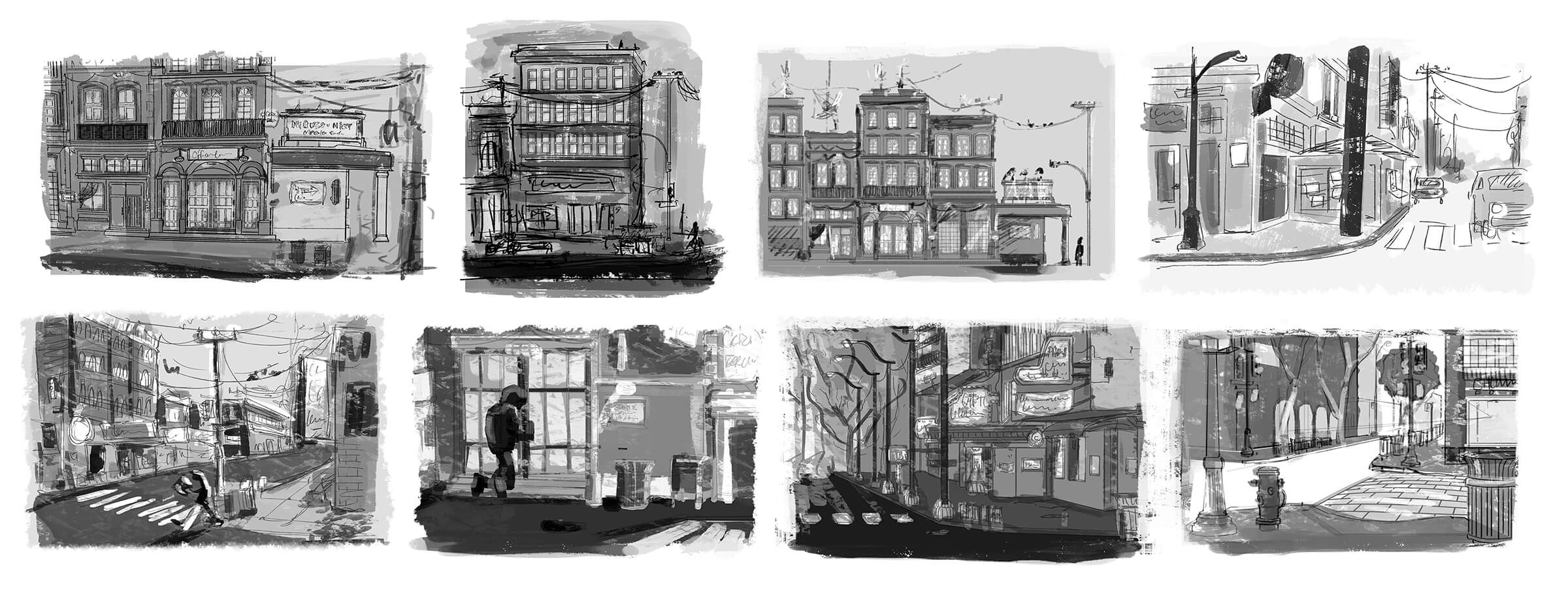 black and white drawings of various street scenes