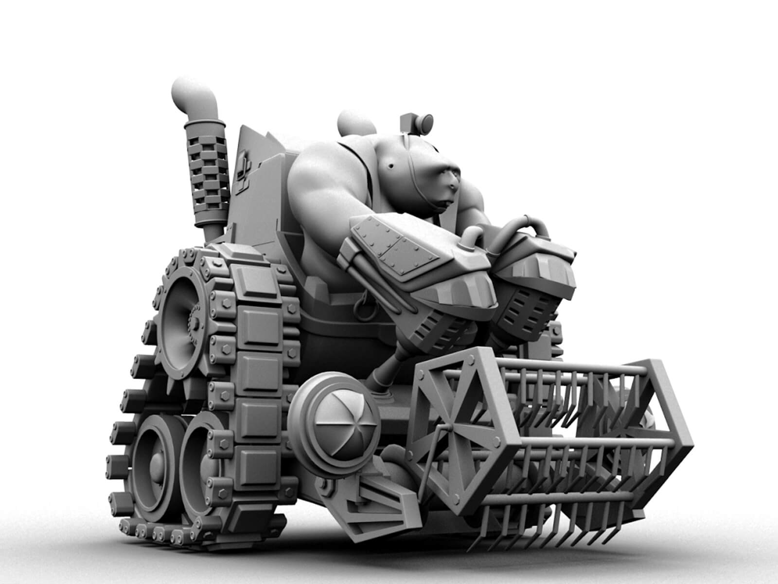computer-generated 3D model of a muscular male character sitting in a tank-like vehicle