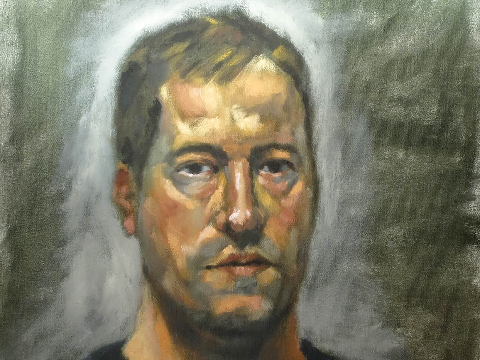 traditional painting self-portrait of the artist, a man in a black t-shirt