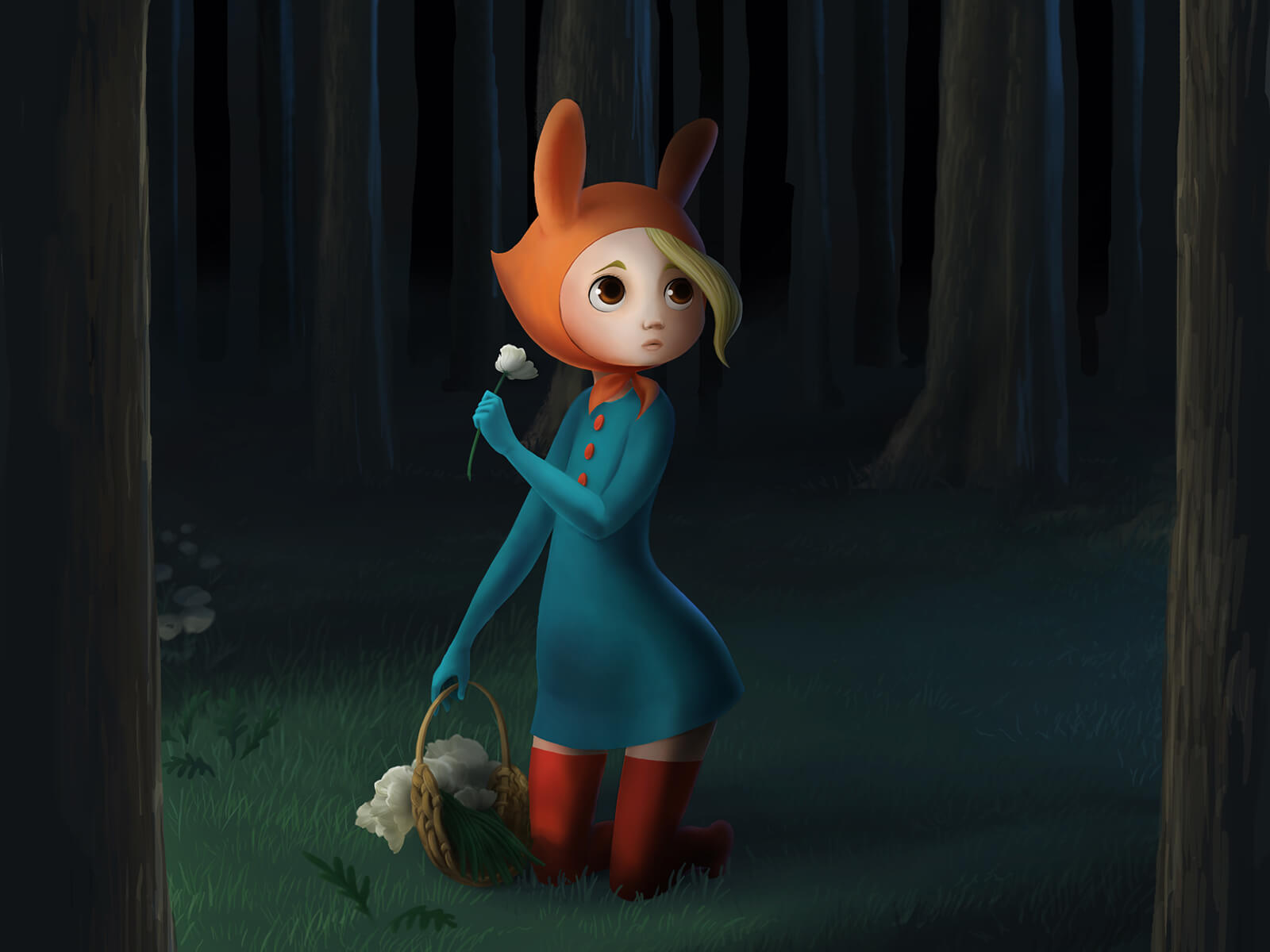 digital painting of a fearful girl in a dark forest wearing a red, bunny-eared bonnet and carrying a basket of white flowers