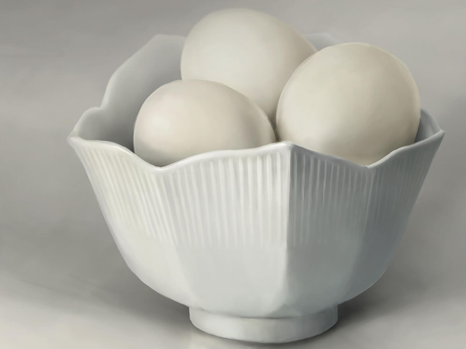 still-life traditional painting of a white bowl filled with 3 eggs