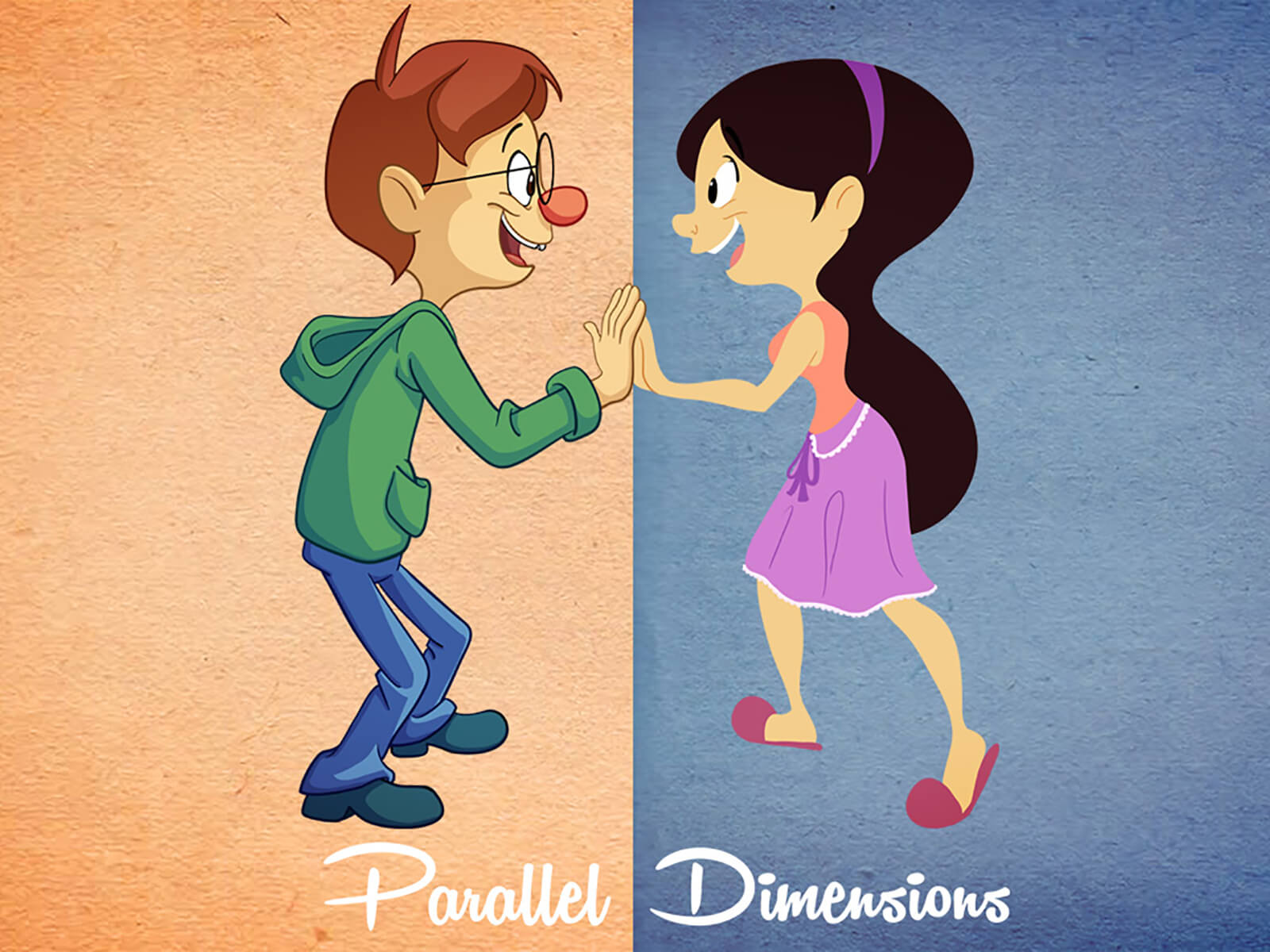digital painting of cartoonish male and female characters giving each other a high five