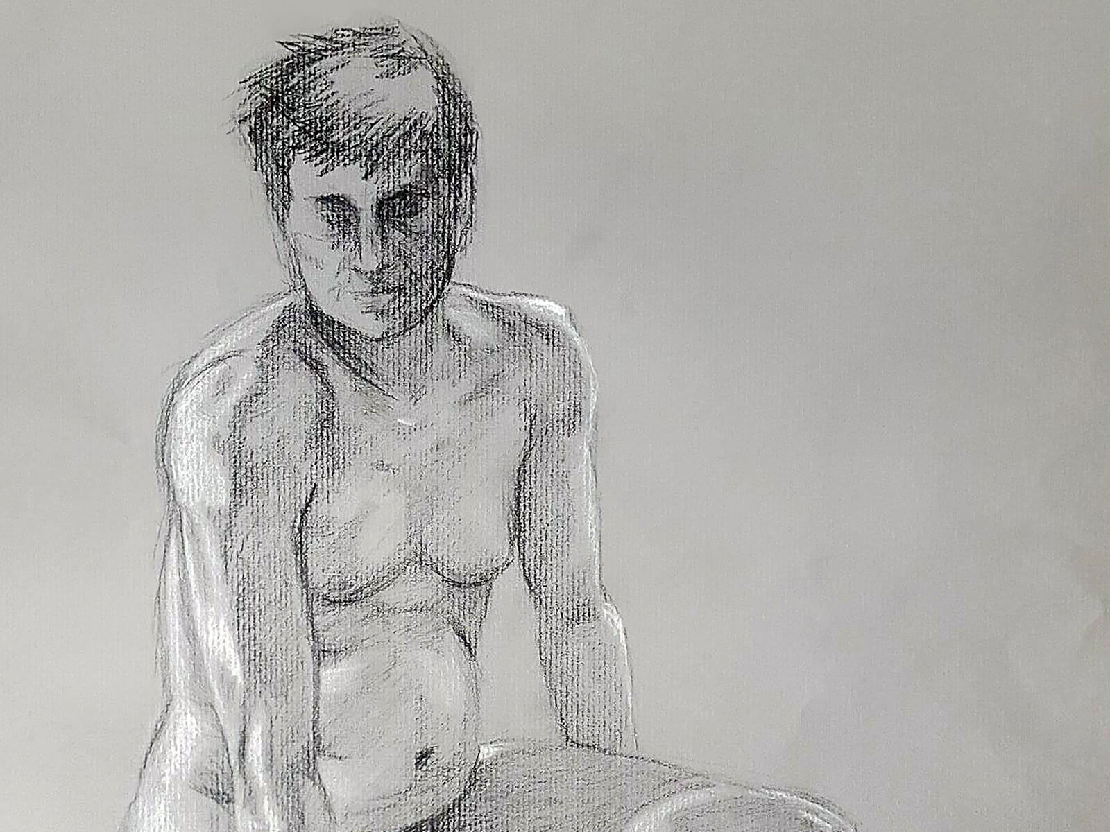 A black-and-white sketch of a naked man posed in a seated position glancing downward.