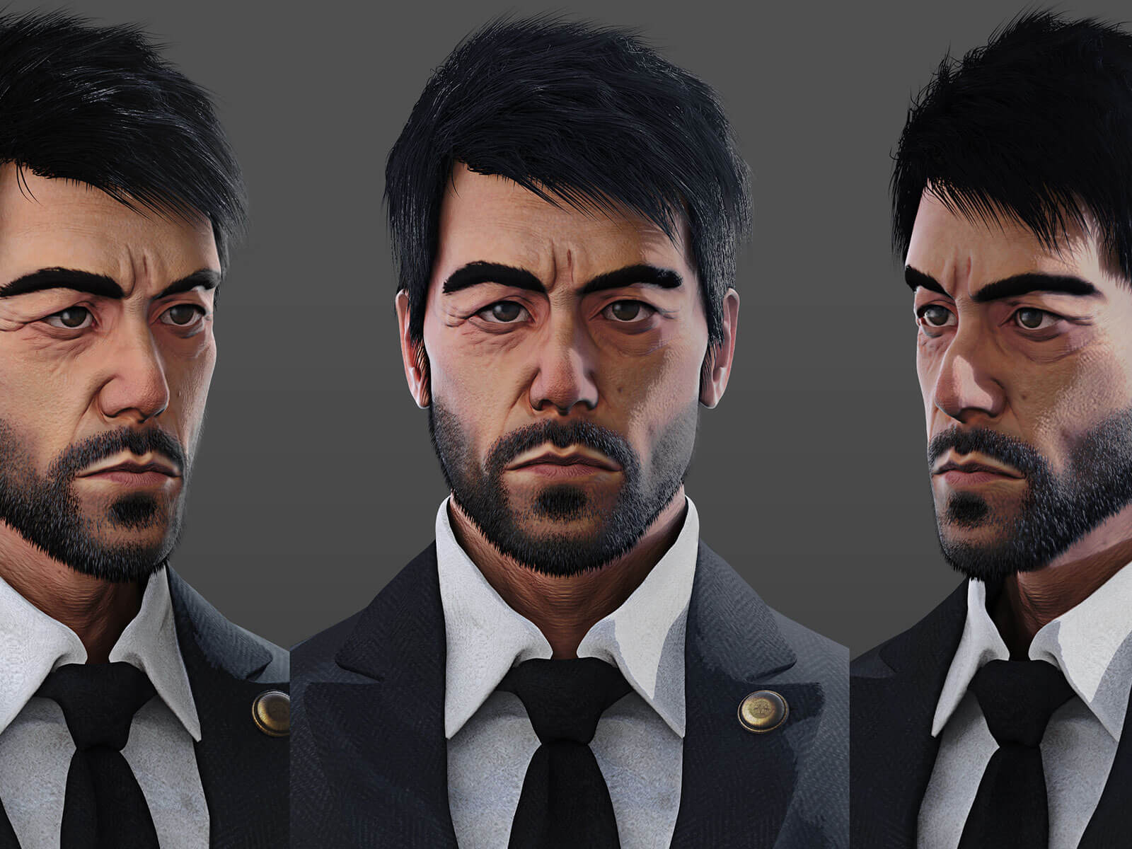Three views of a close up of a black-haired bearded man in a charcoal suit and black tie looking straight ahead.
