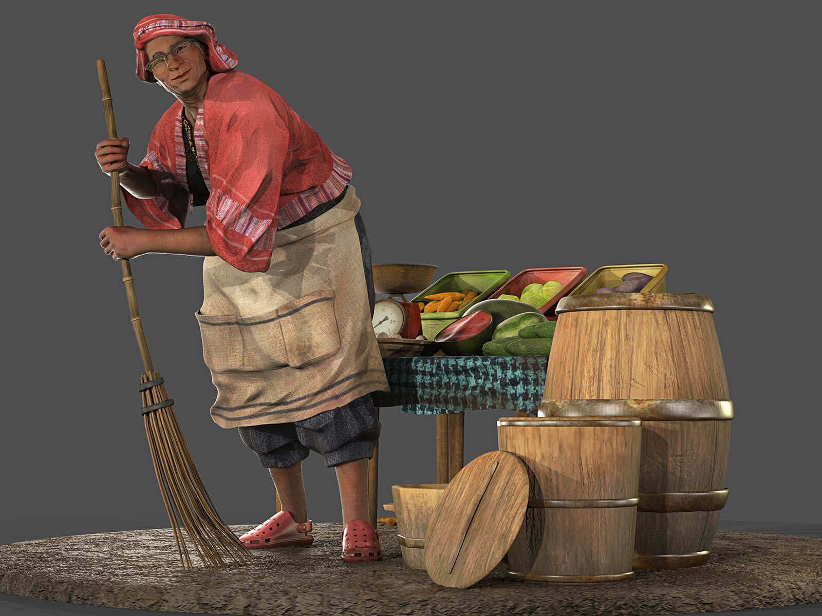 A shopkeeper wearing crocs and a linen apron sweeps with a simple bamboo broom next to a small table of vegetables.