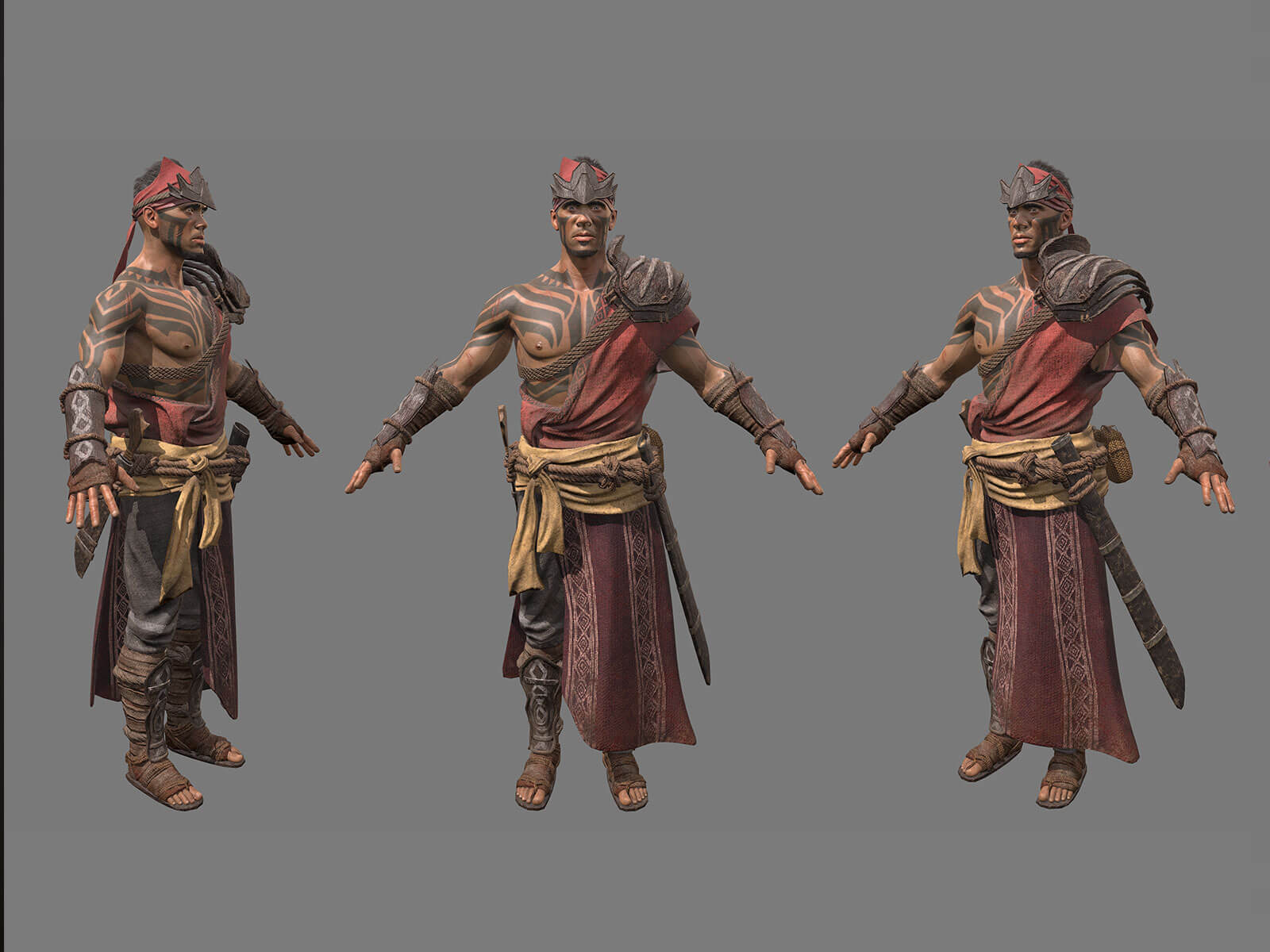Turnaround of man clothed as warrior