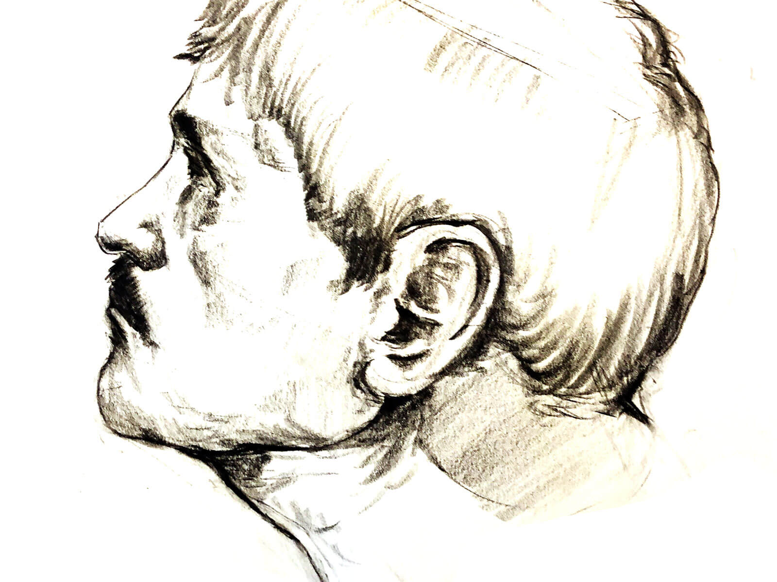 Black-and-white sketch of a mustached man looking up and to the left, away from the viewer.