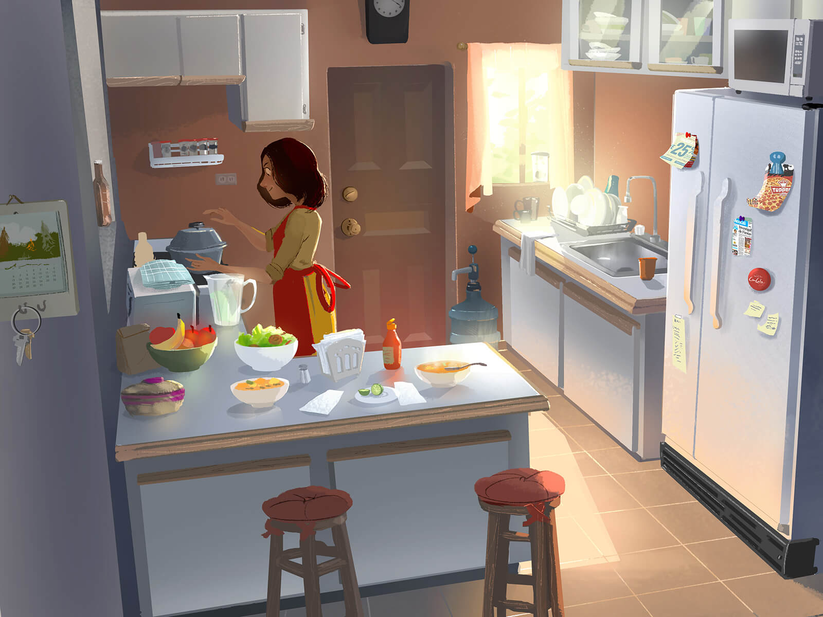 digital painting of a woman cooking at the stove in a small kitchen