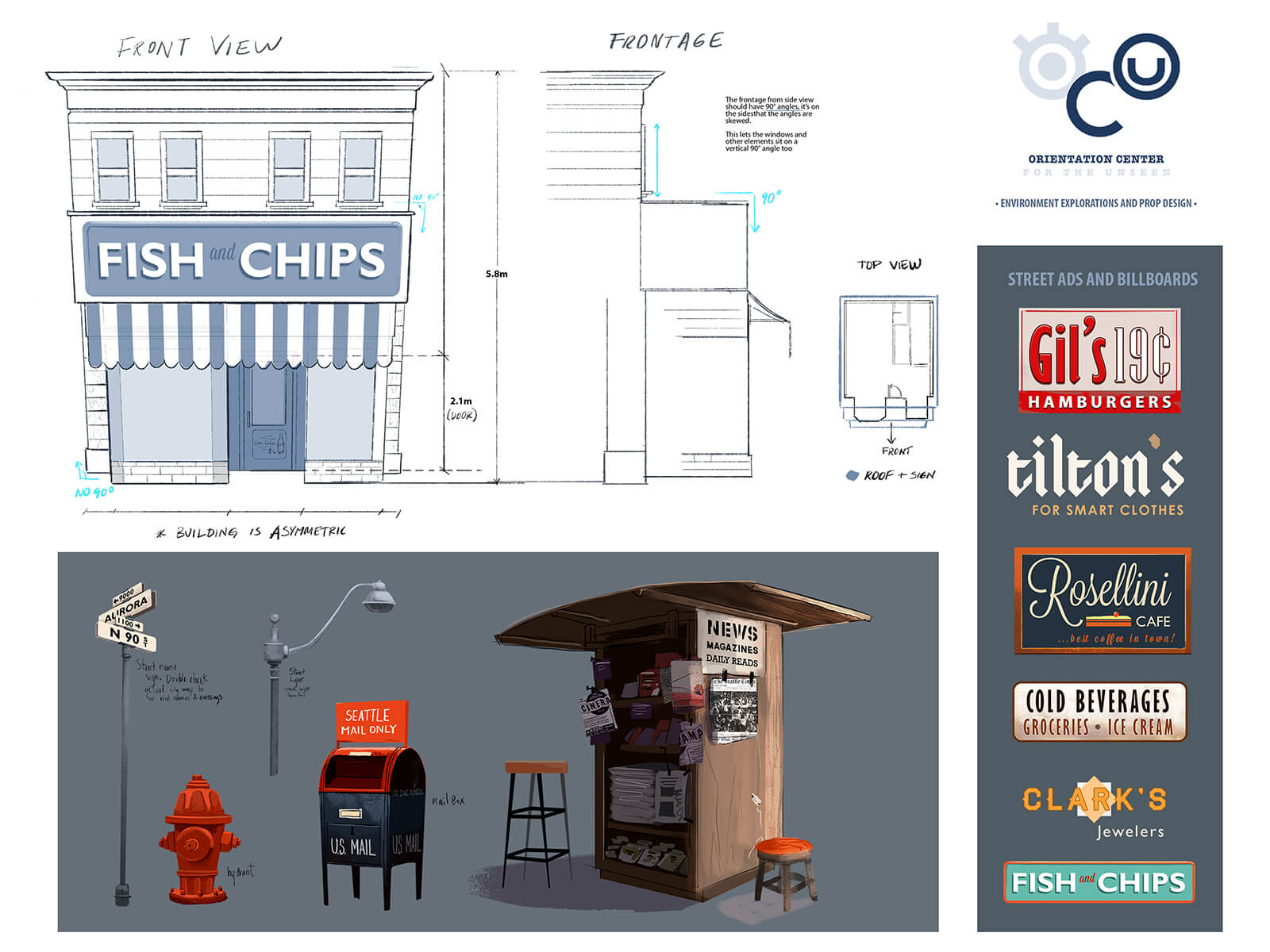 "digital paintings of building and signage for the city featured in student animation ""orientation center for the unseen"""