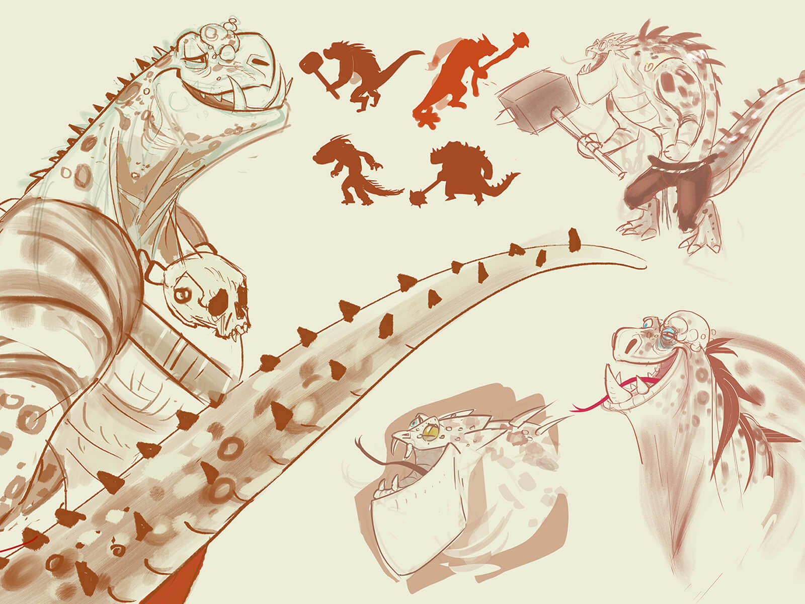 digital paintings of the various facial expressions and gestures of several lizard-like creatures